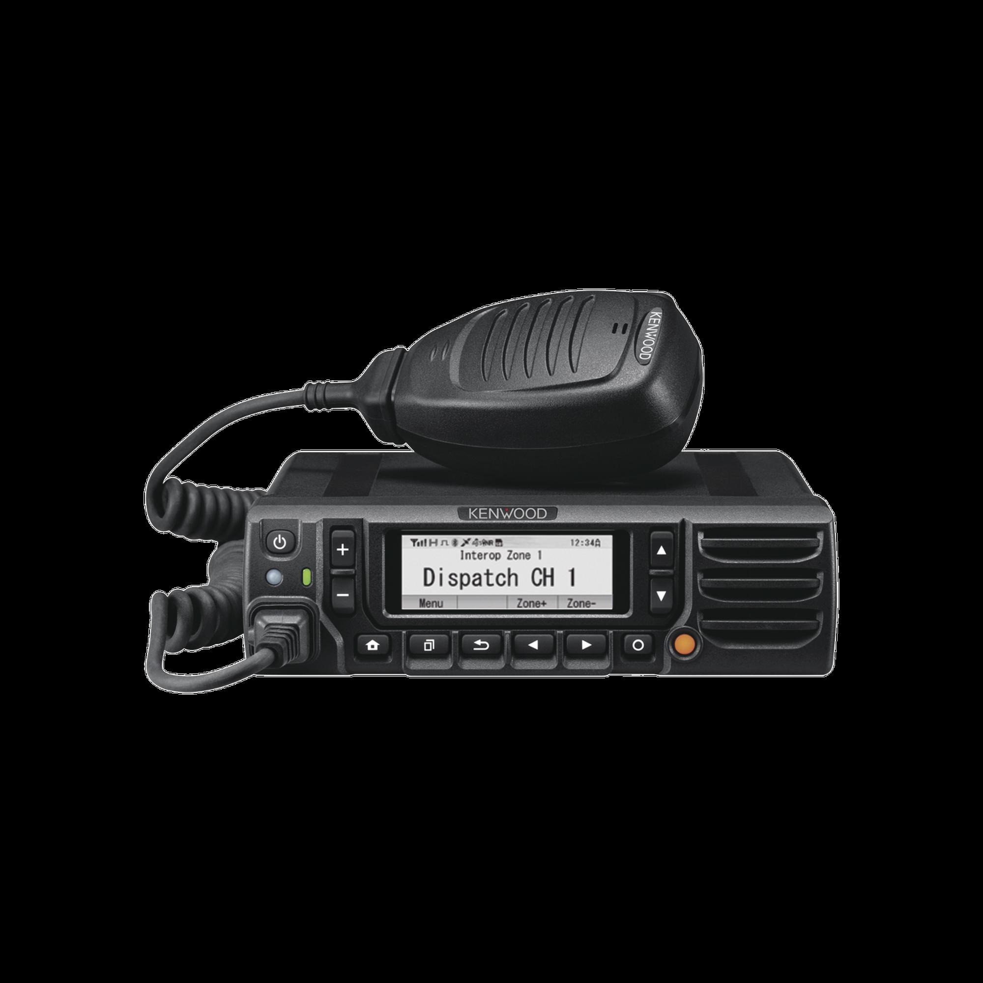 136-174 MHz, NXDN-DMR-Analógico, 50 W, Bluetooth, GPS, MicroSD, 1024 Canales, Incluye micrófono y accesorios de instalación