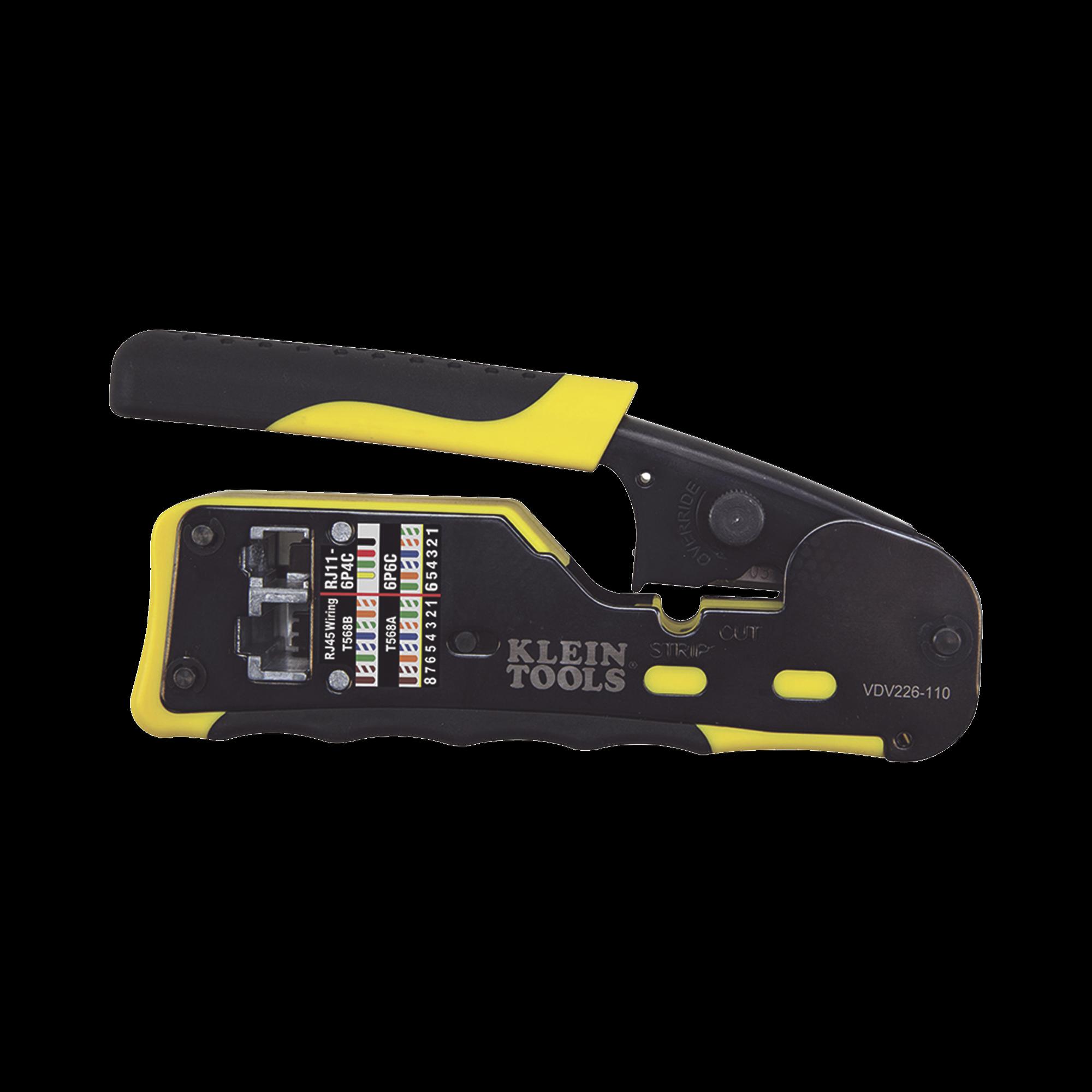 Ponchadora/Pelacables/Cortacables con Matraca para Conectores Pass-Thru RJ45 y Conectores Estándar RJ11/RJ12.