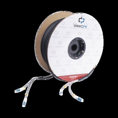 Carrete de Fibra Óptica Monomodo con conectores LC-LC Duplex, Reforzada con Kevlar, de 200 metros