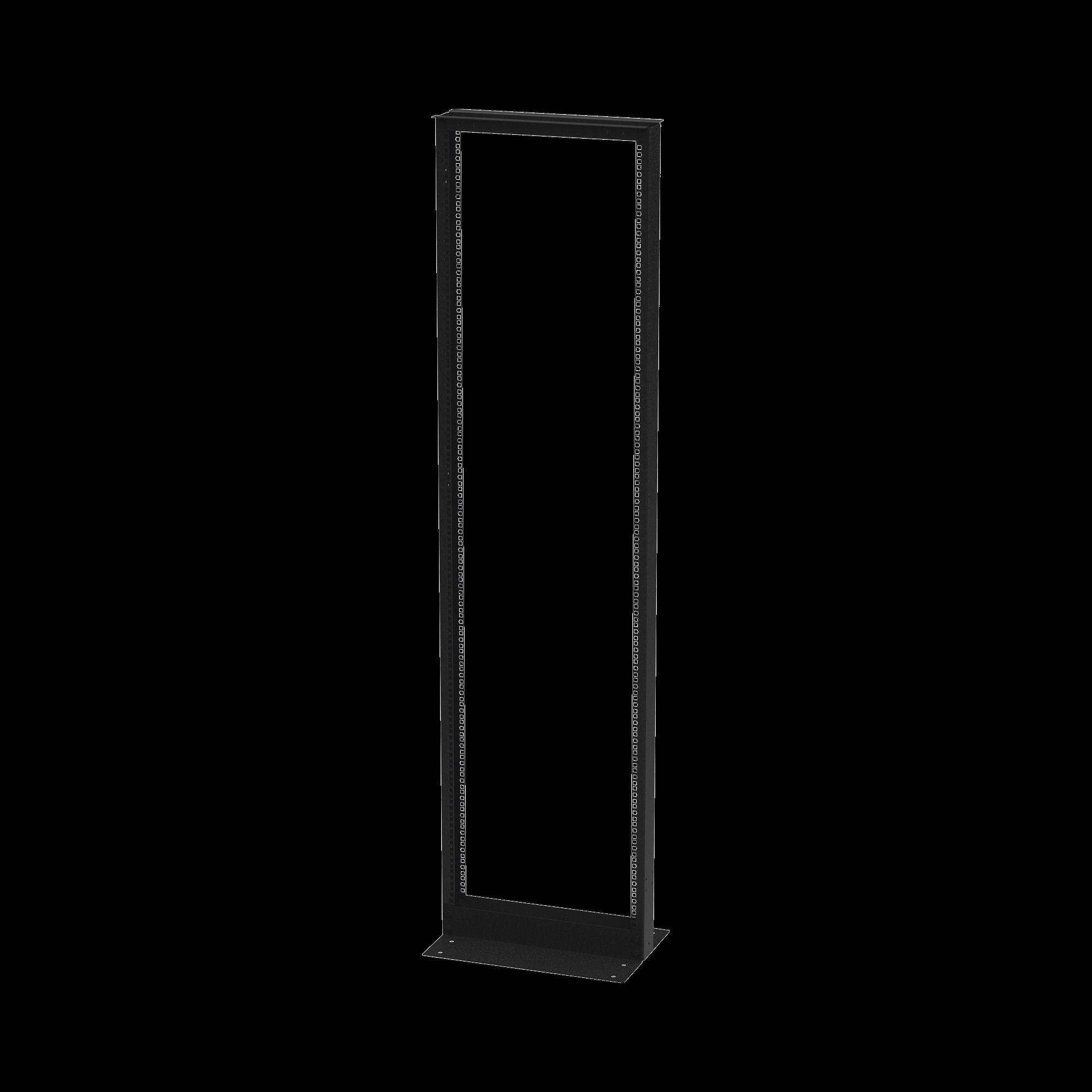 Rack de 2 Postes, Doble Perforacion, Estandar 19, 42 Unidades, Fabricado en Acero, Base L para Anclar a Piso.