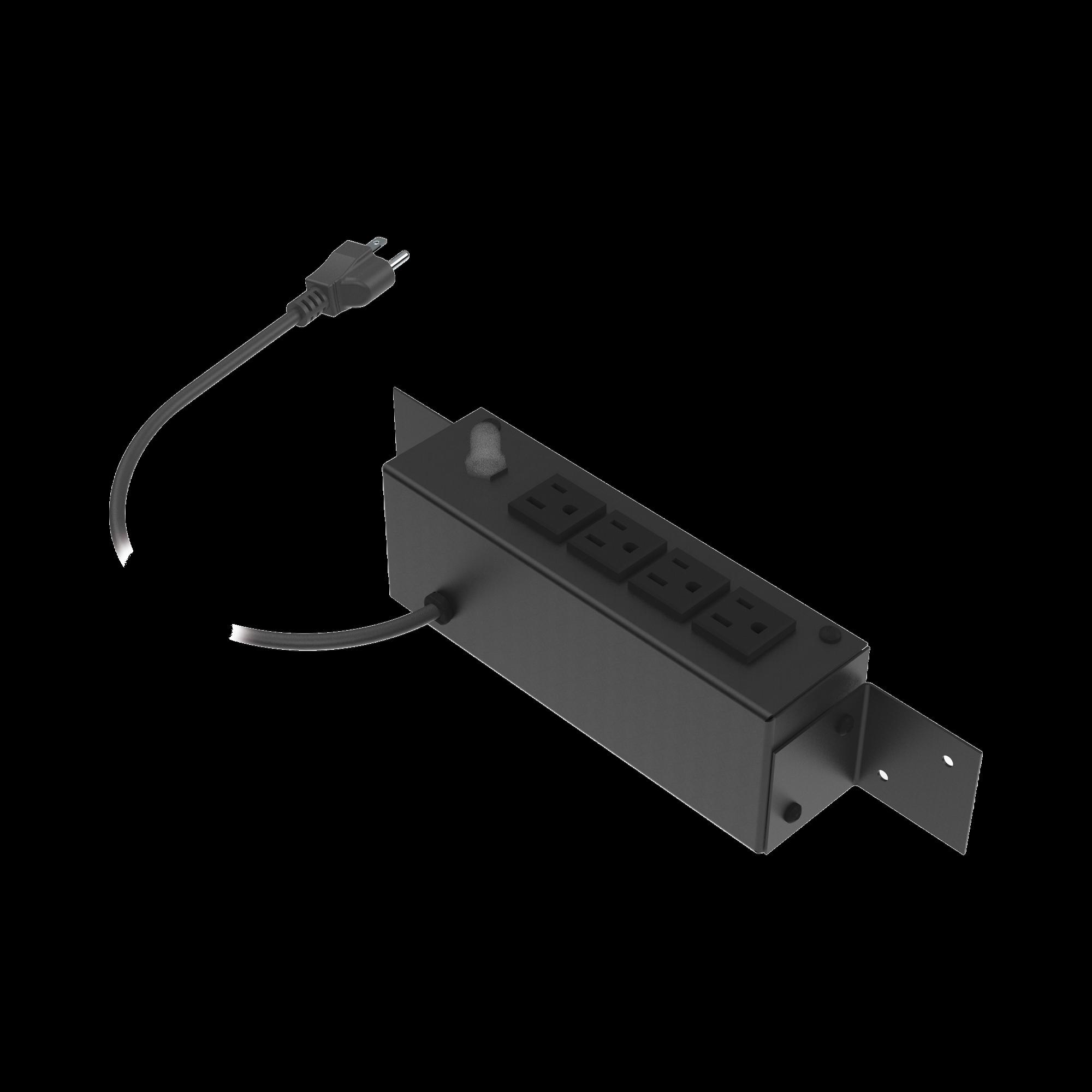 Tomacorriente de 4 Contactos (NEMA 5-15R) Voltaje Entrada/Salida: 120Vca/10A Max. Opción de Instalación en Escritorio o Pared.