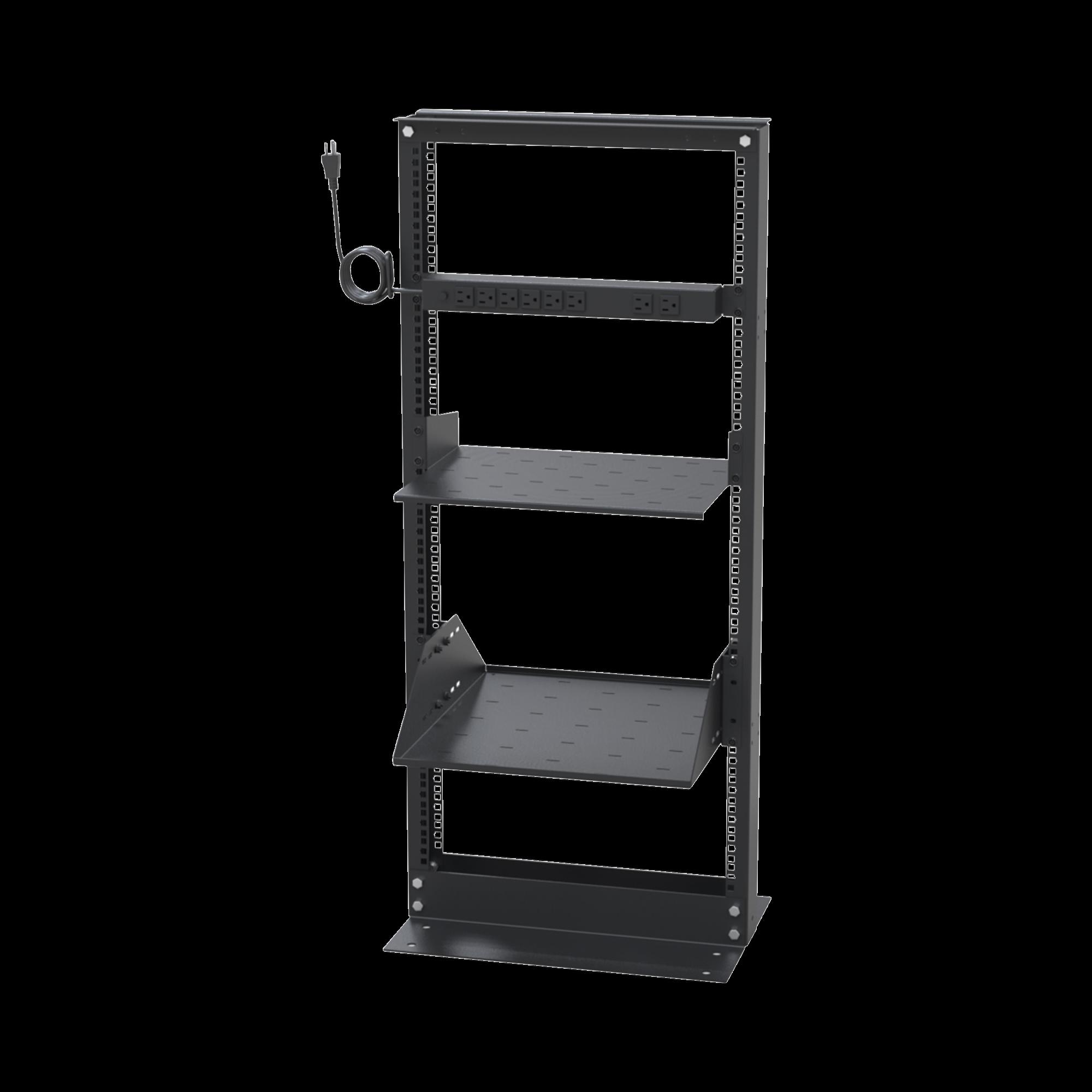 Kit de Rack Estándar 19, 24 UR con 2 Charolas  y PDU (8 tomas). Ideal para UPS y Servidores tipo Torre.
