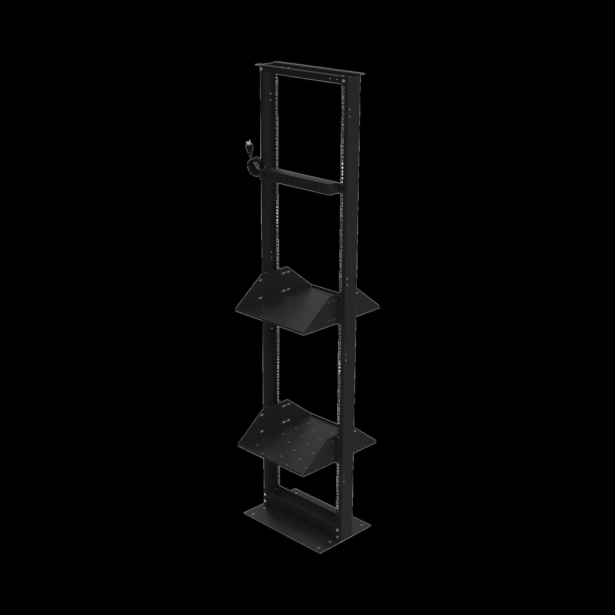 Kit de Rack Estándar 19, 45 UR con 2 Charolas  y PDU (8 tomas). Ideal para UPS y Servidores tipo Torre.