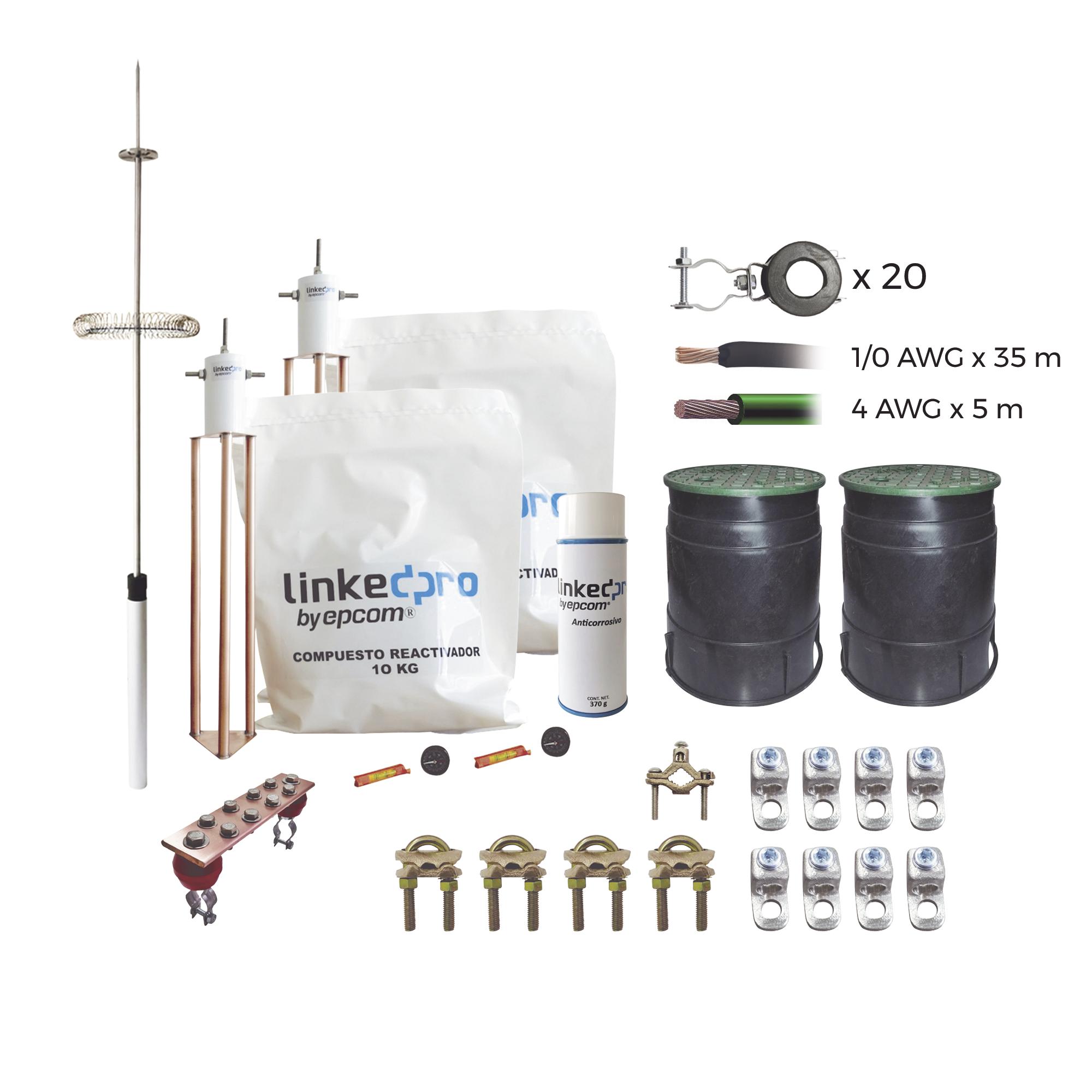 Kit Pararrayo  LINKEDPRO con Accesorios de Instalación en Torre de Hasta 30 m de Altura.