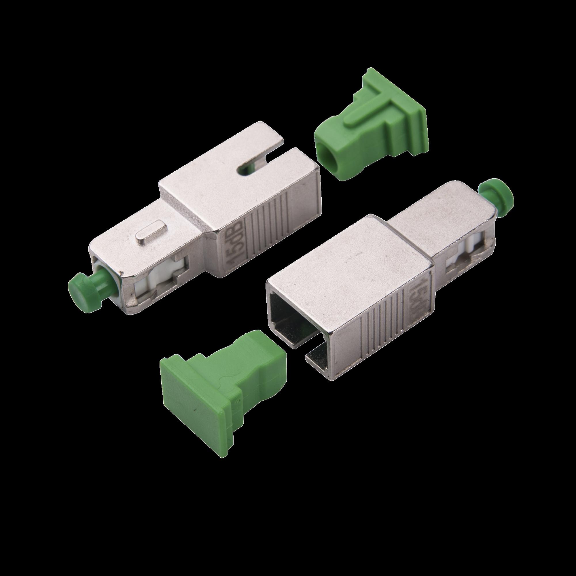 Atenuador óptico macho-hembra con conector SC/APC de 15dB para fibra Monomodo