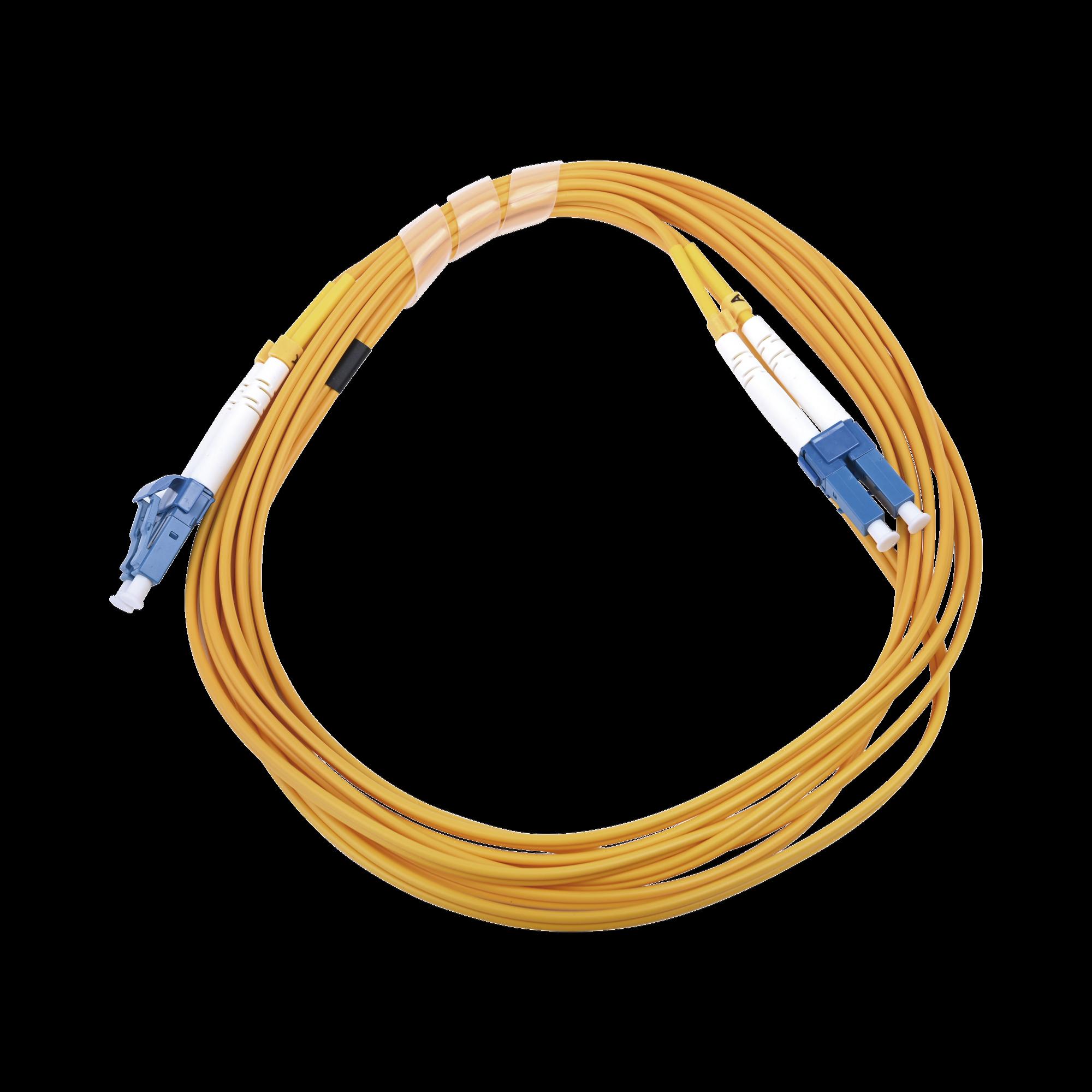 Jumper de Fibra óptica Monomodo 9/125 LC/UPC-LC/UPC, PVC, 2.0 mm, Dúplex, amarillo, 3 metros