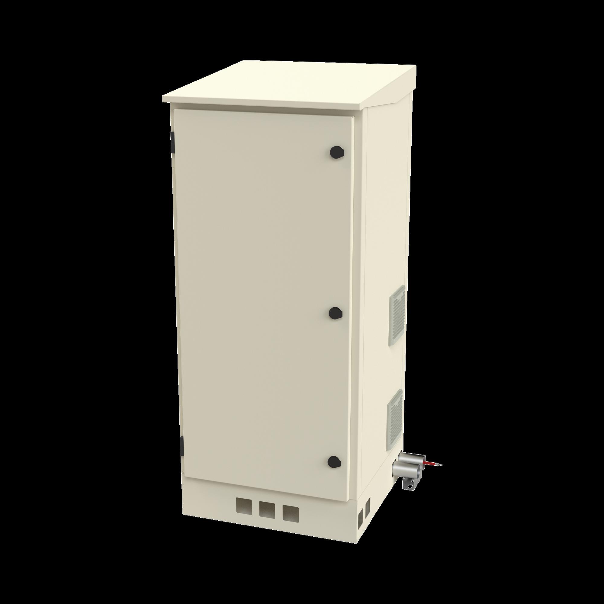 Gabinete de Piso para Exterior con Ventiladores y Termostato con Rack de 19 de 16 U + Espacio para Baterías.