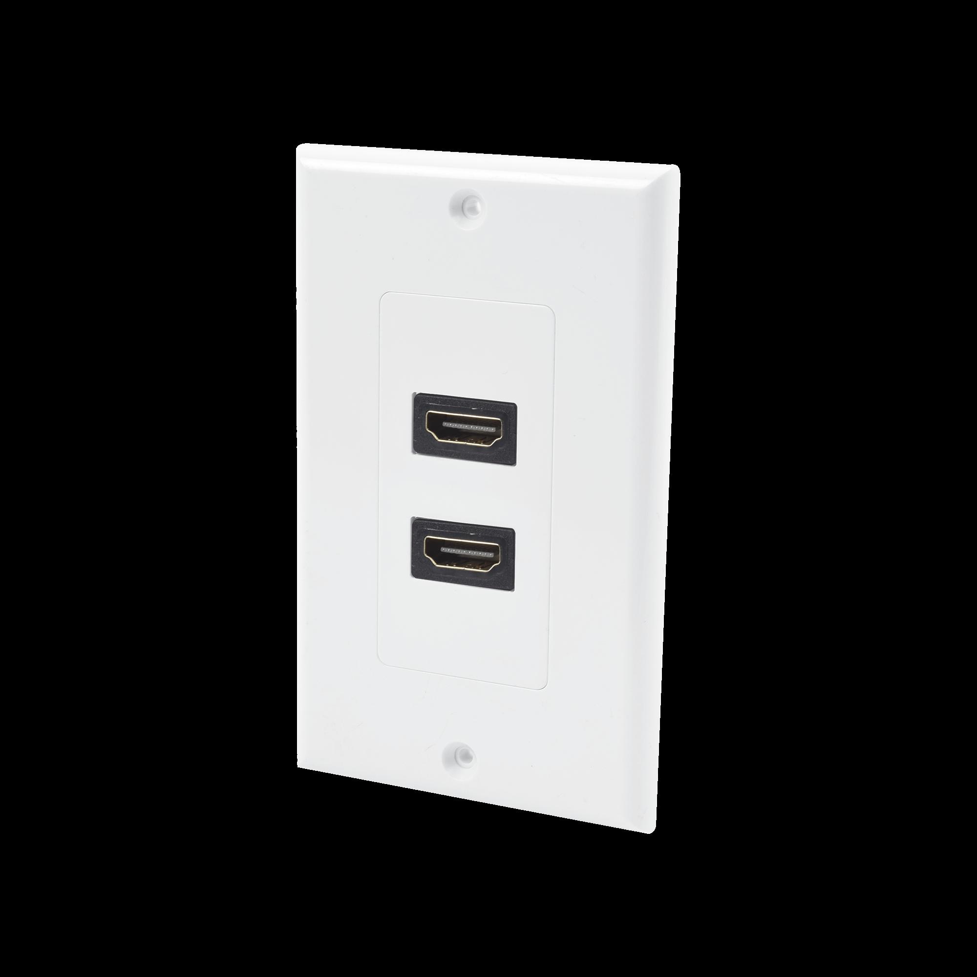 Placa de pared de 2 puertos HDMI hembra a hembra