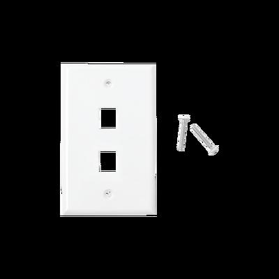 Placa de pared de 2 puertos, Keystone, Color Blanco