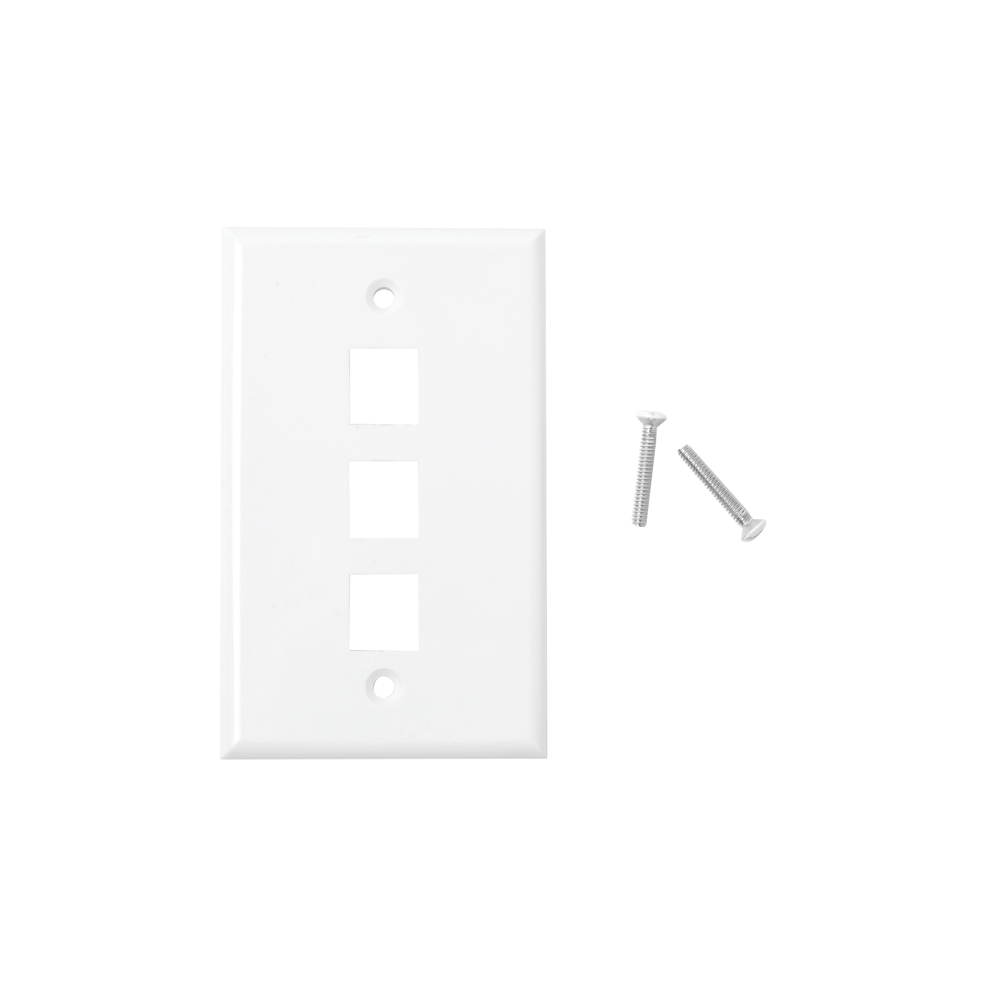 Placa de pared de 3 puertos, Keystone, Color Blanco