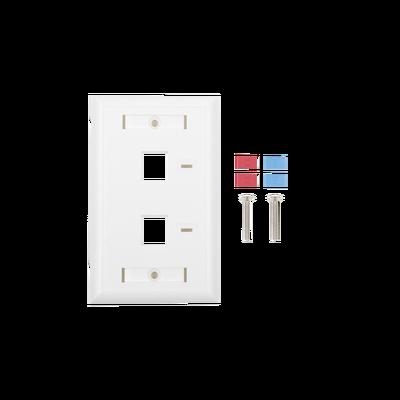 Placa de pared de 2 puertos, Keystone, con espacio para etiqueta, Color Blanco