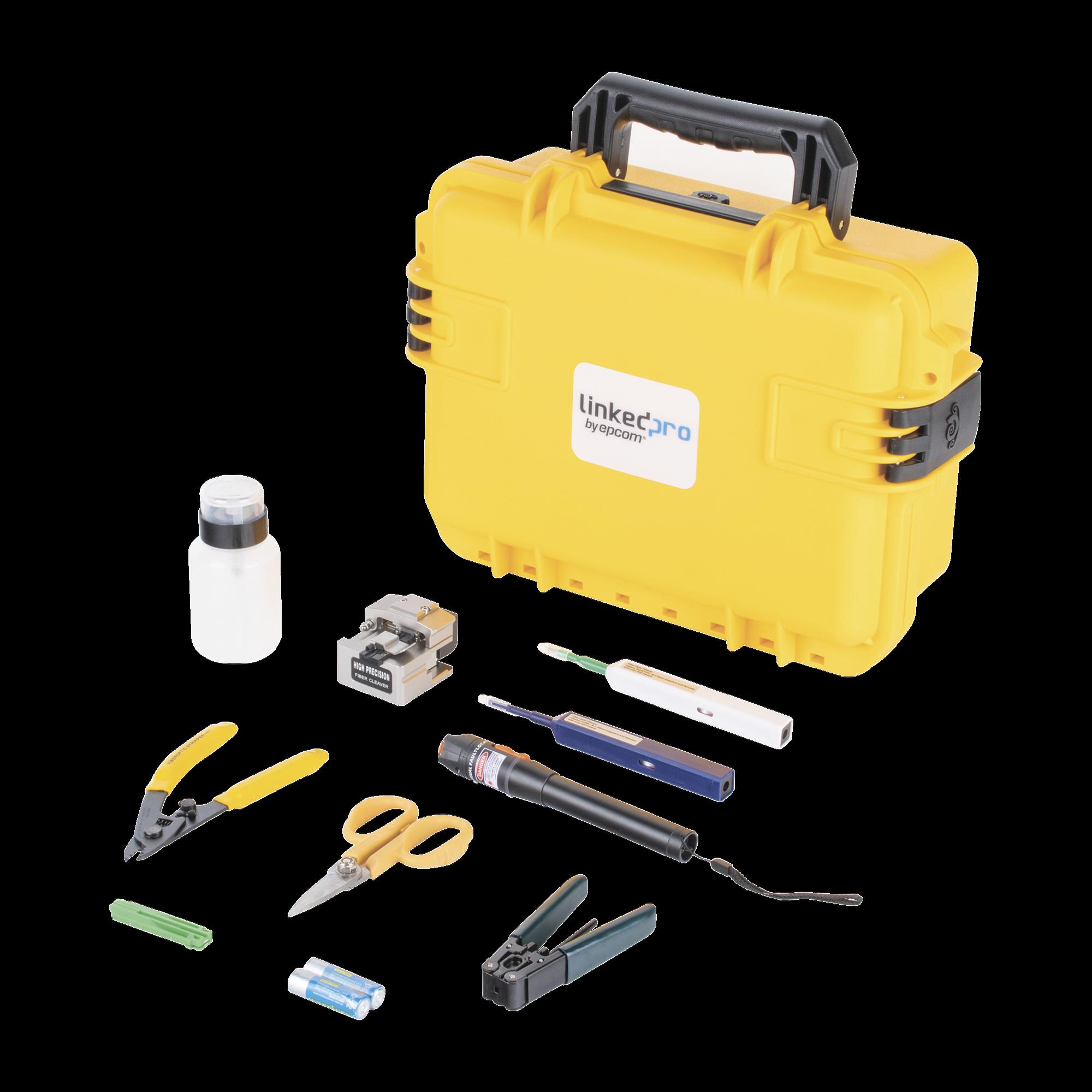 Kit de herramientas para terminación de conectores mecánicos de fibra óptica, incluye maletín ideal para transportar con especificación militar (uso rudo)