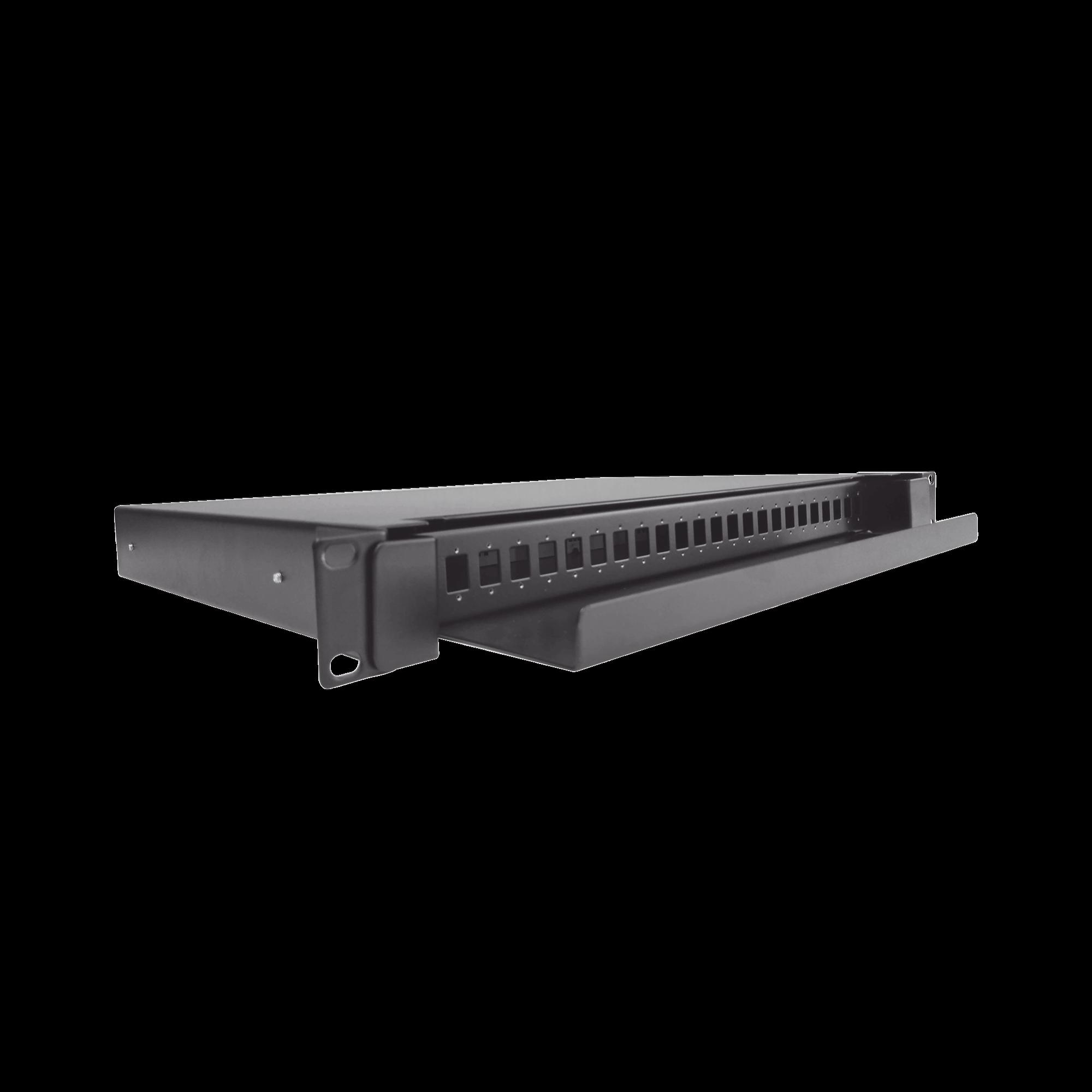 Distribuidor de Fibra óptica deslizable, vacío, 19in, acepta 24 adaptadores LC Duplex o LC Simplex o 24 SC Simplex, 1U