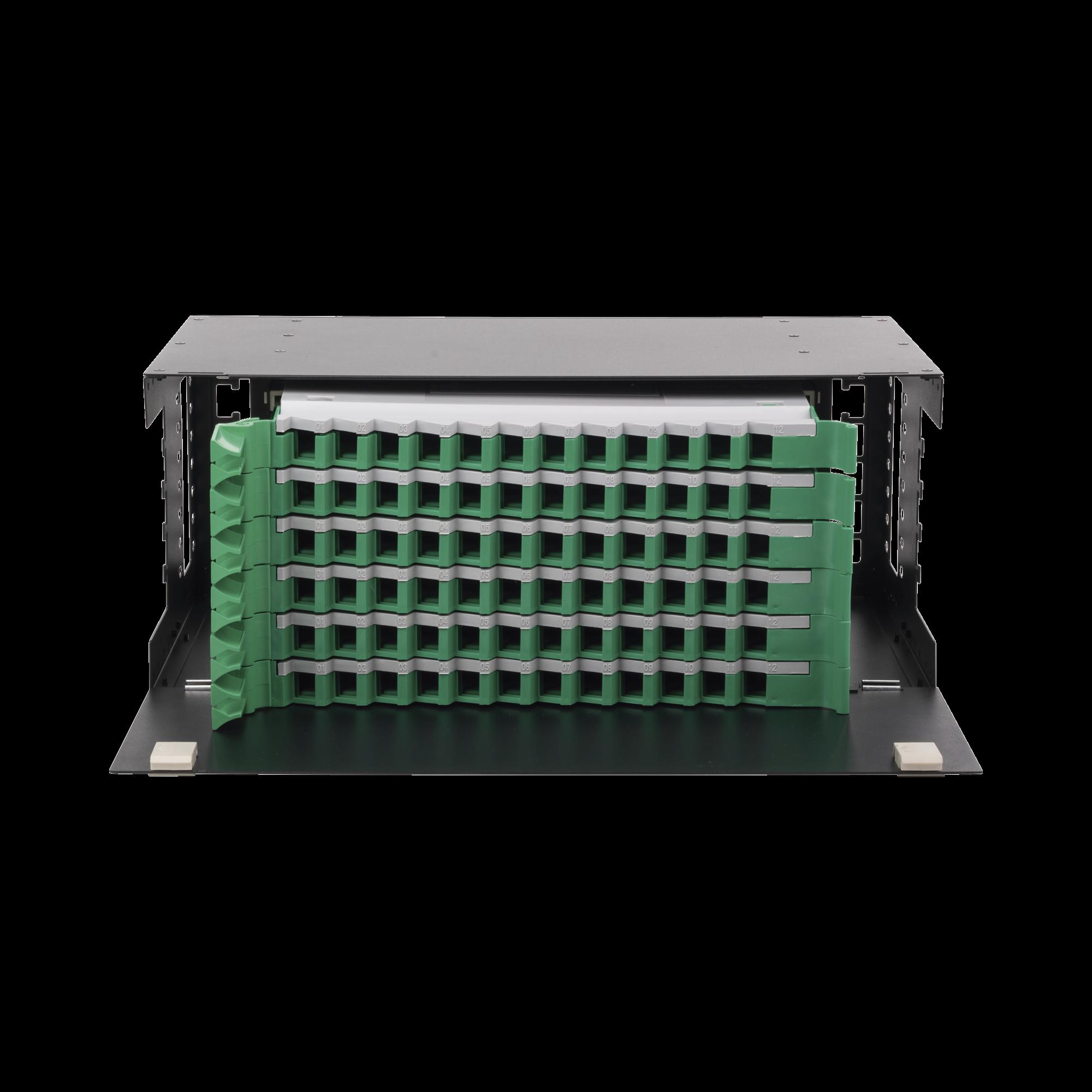 Distribuidor de Fibra óptica con bandejas deslizables, vacío, 19in, acepta 72 adaptadores LC Duplex o LC Simplex o 72 SC Simplex, 4U