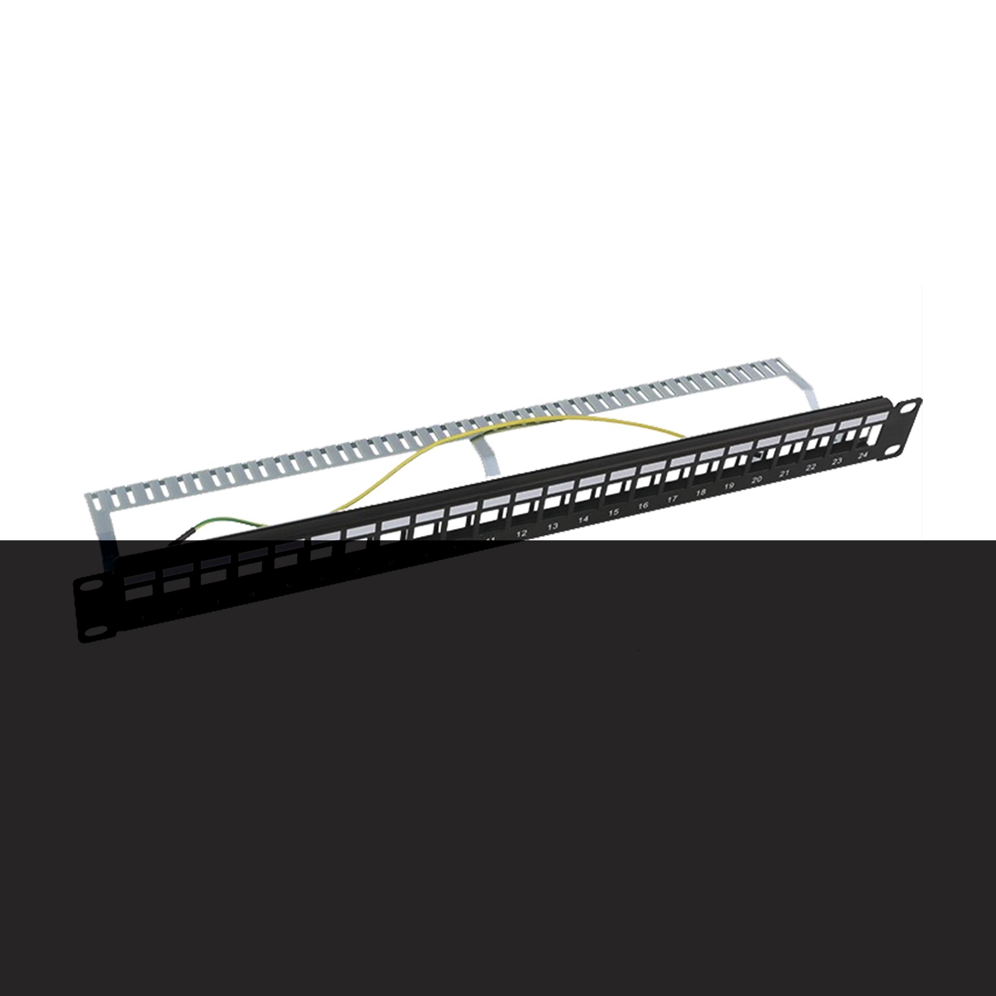 Patch panel modular Blindado (STP) de 24 puertos, con barra para organizar cable