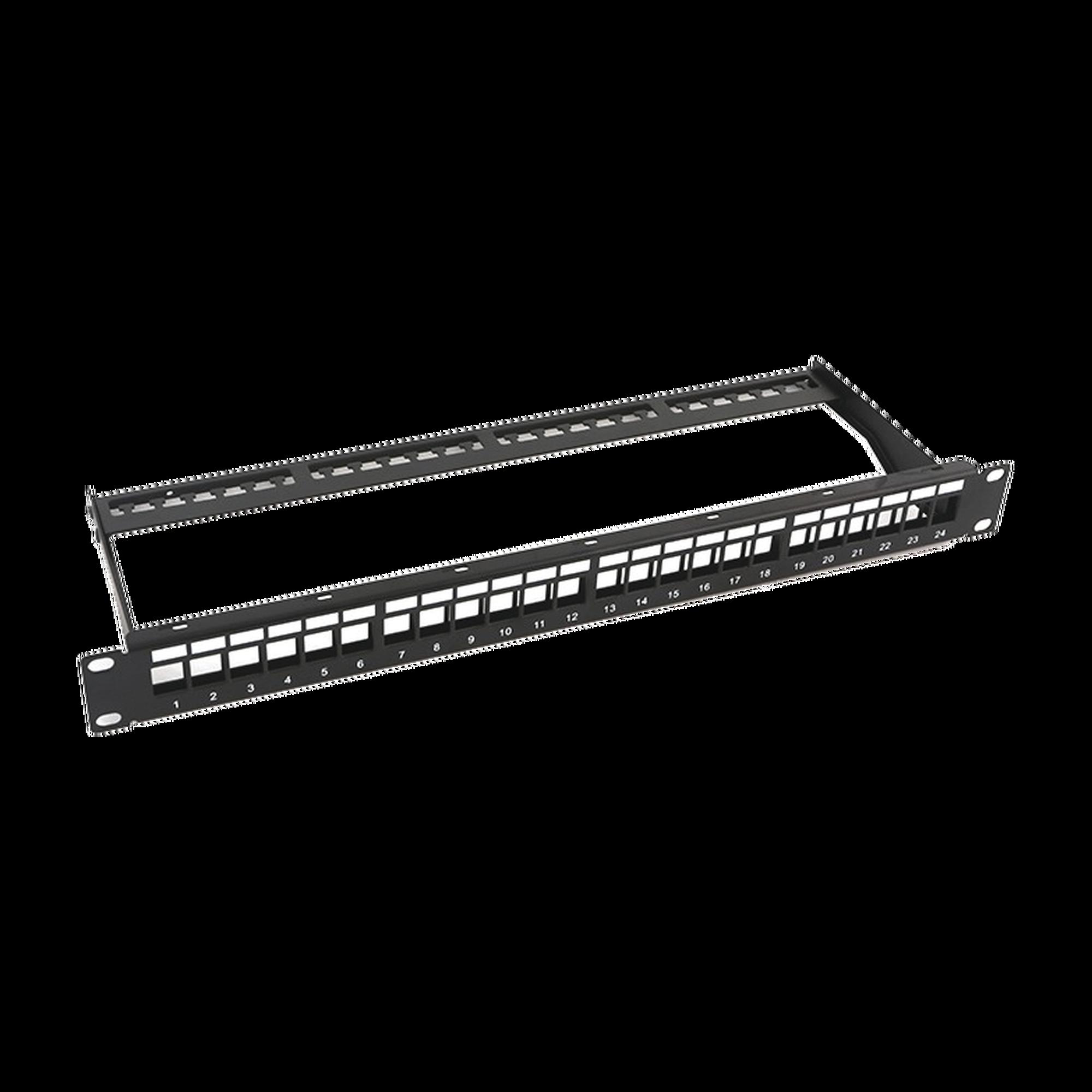 Patch panel modular sin blindaje de 24 puertos, 1U, con barra para organizar cable