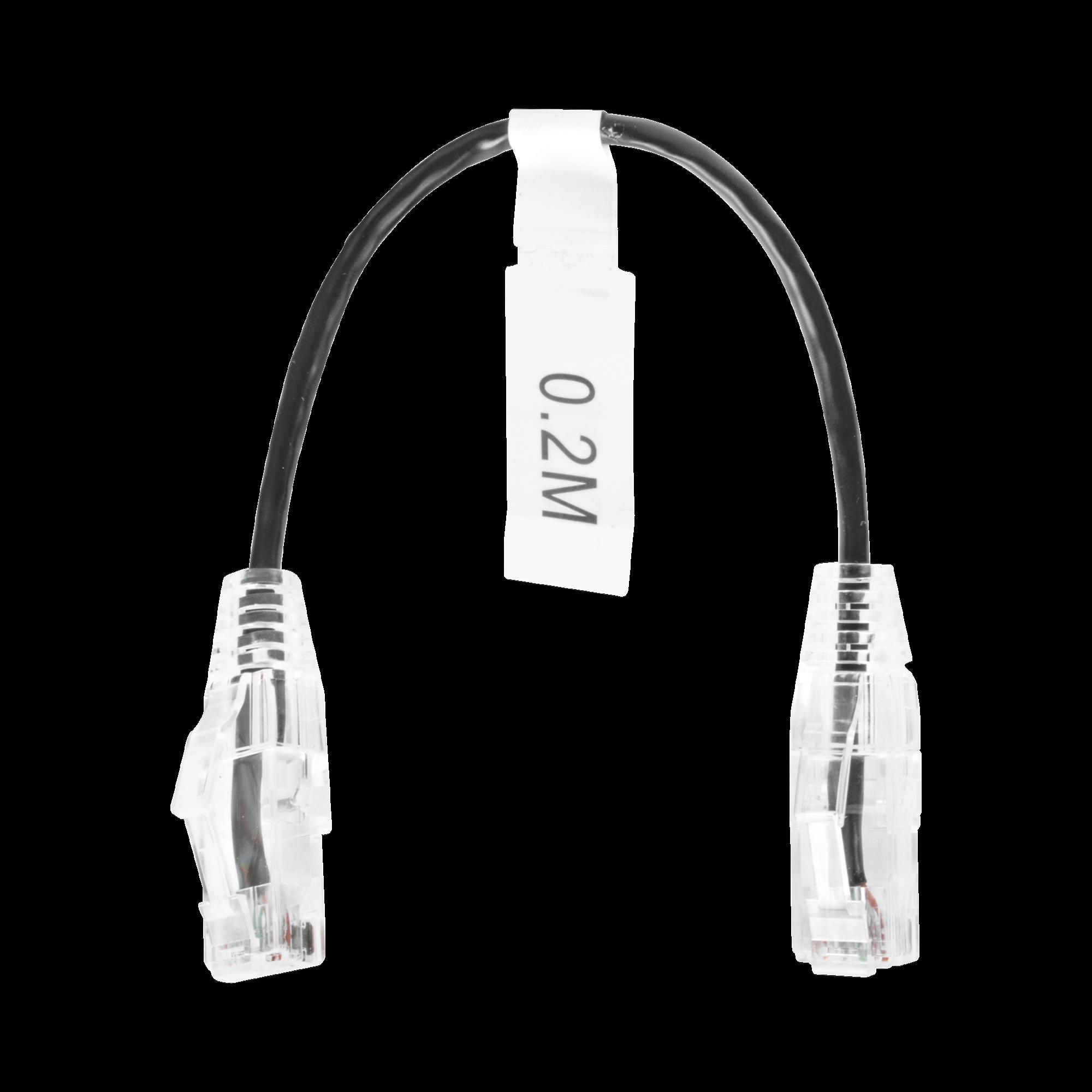 Cable de Parcheo Slim UTP Cat6 - 20 cm Negro Diámetro Reducido (28 AWG)