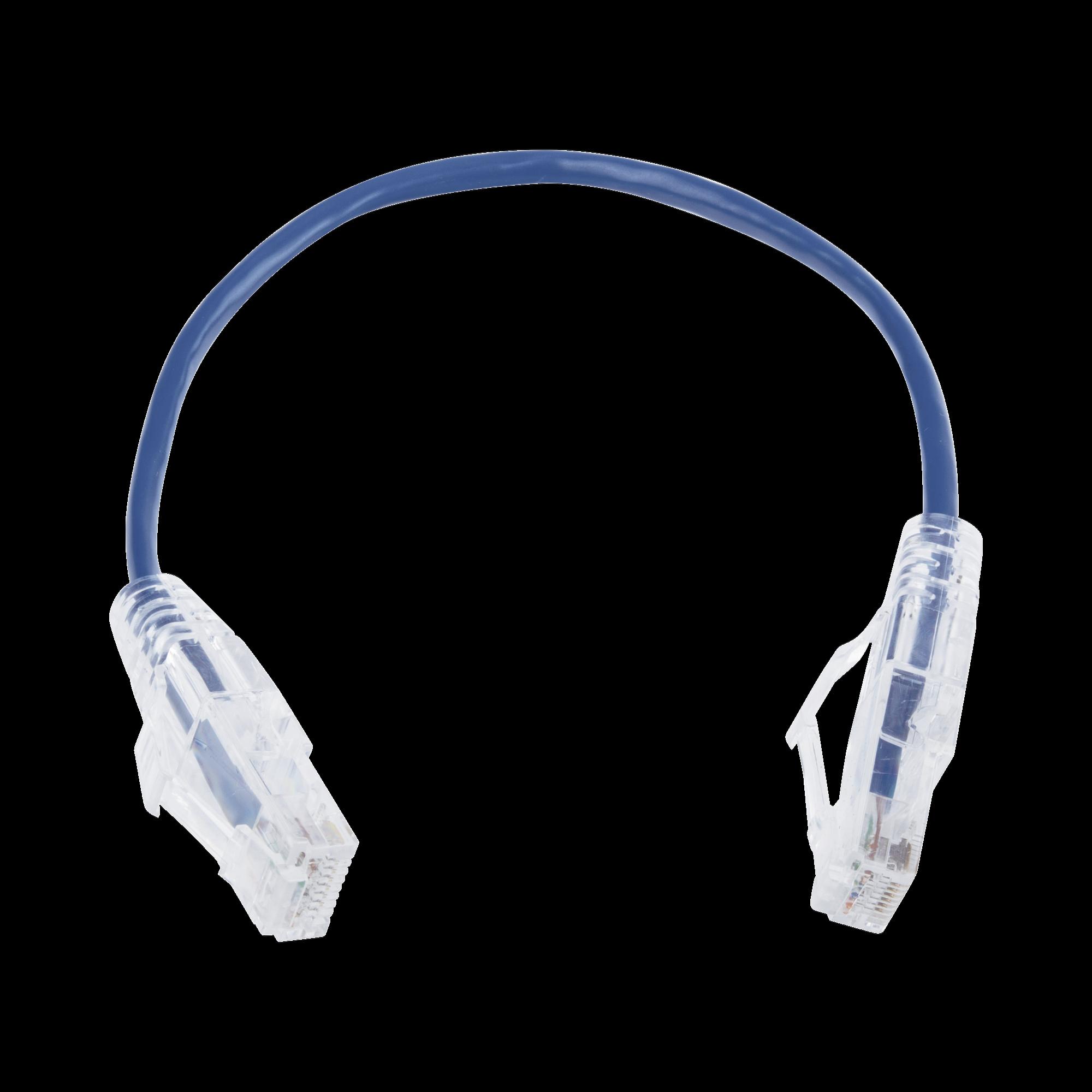 Cable de Parcheo Slim UTP Cat6 - 20 cm Azul Diámetro Reducido (28 AWG)