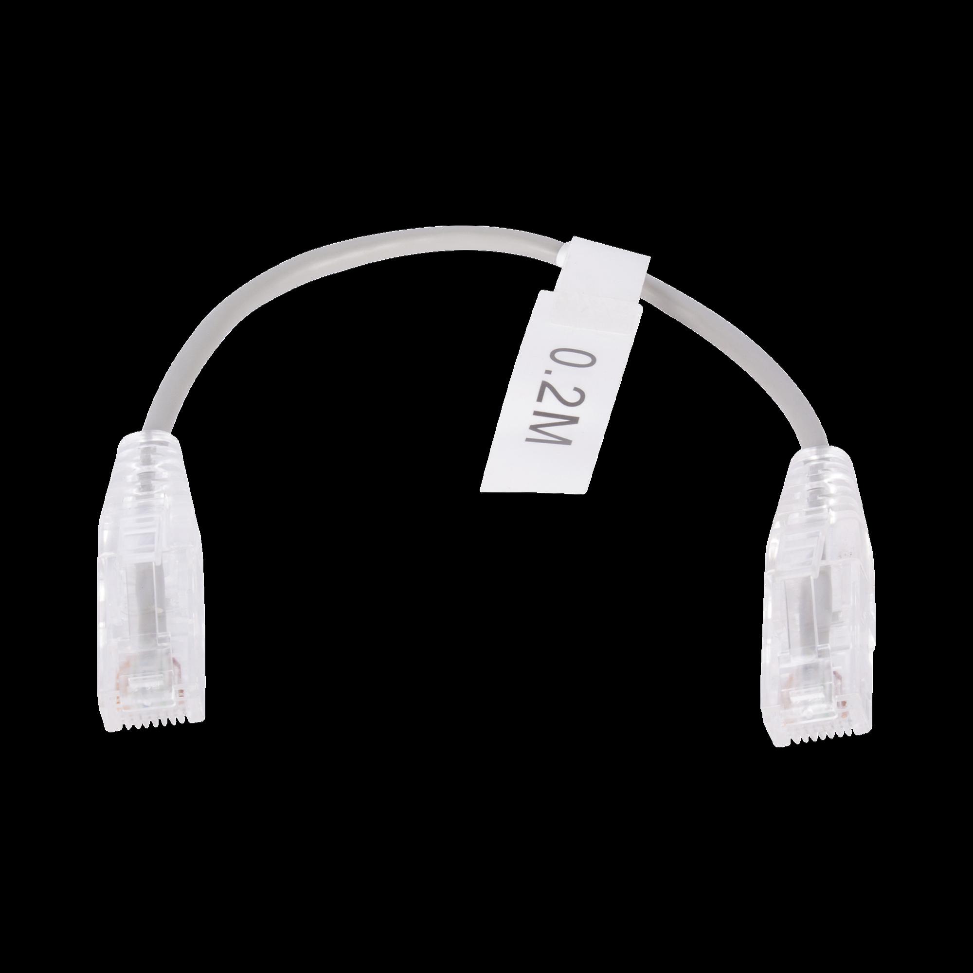 Cable de Parcheo Slim UTP Cat6 - 20 cm Gris Diámetro Reducido (28 AWG)