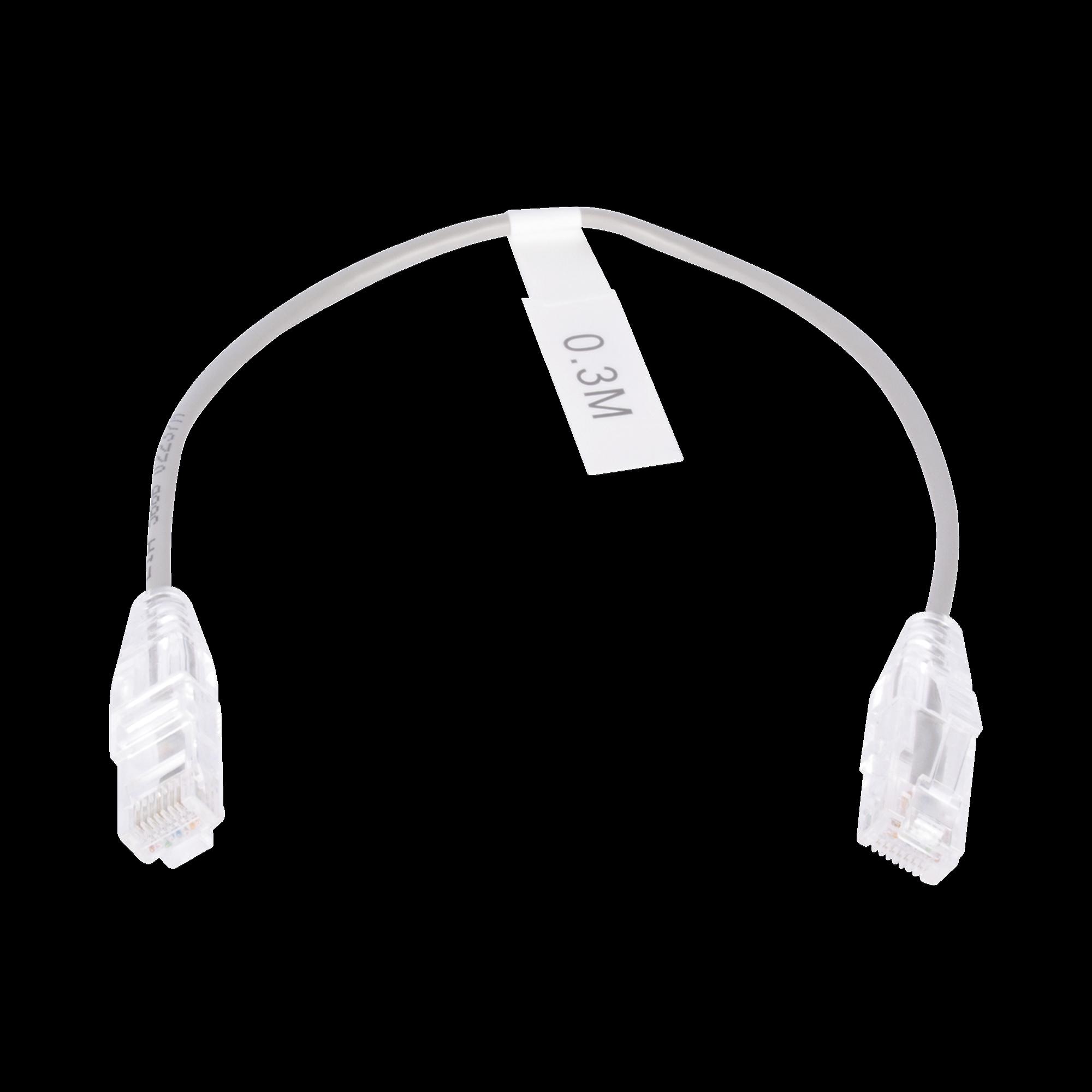 Cable de Parcheo Slim UTP Cat6 - 30 cm Gris Diámetro Reducido (28 AWG)
