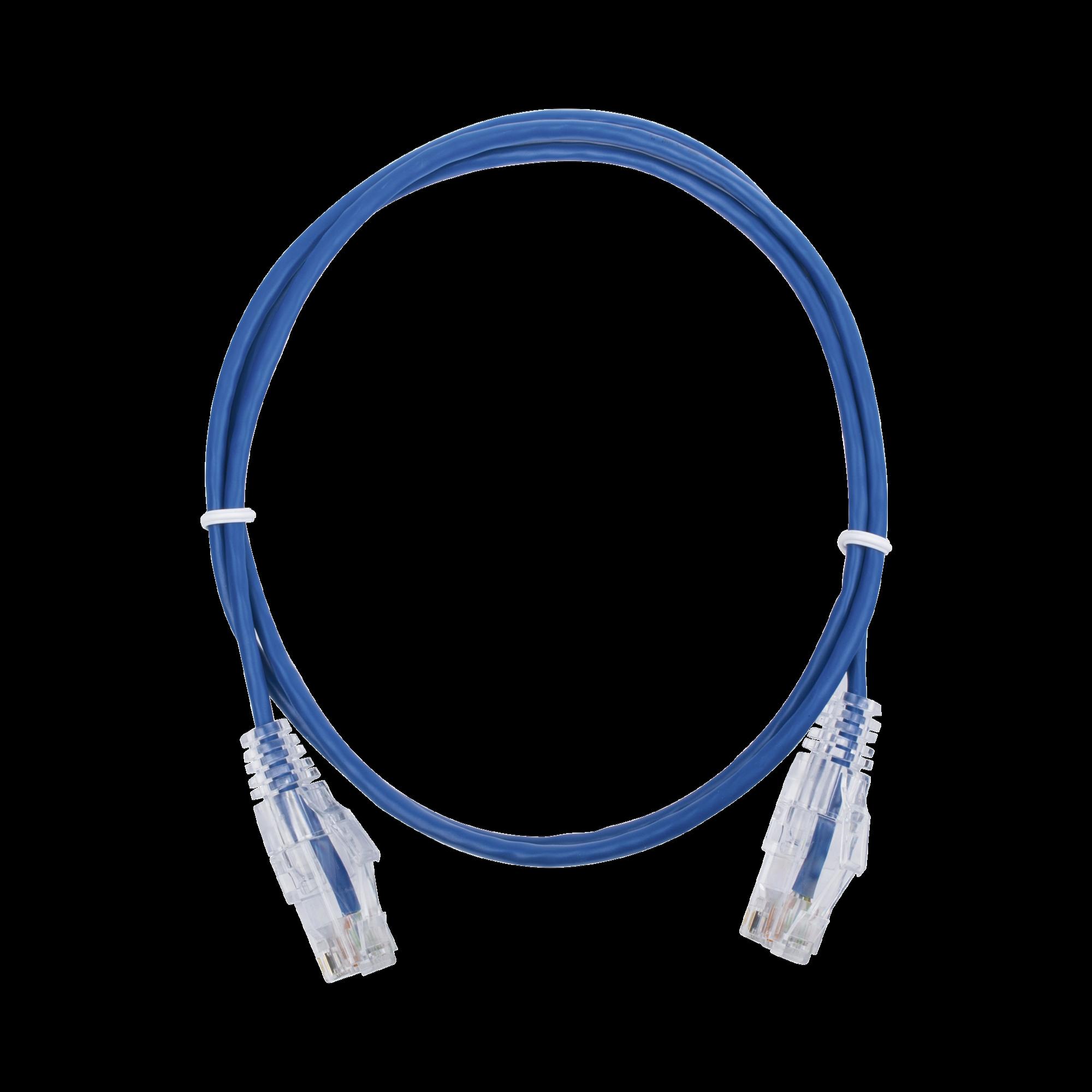 Cable de Parcheo Slim UTP Cat6 - 1 metro, Azul, Diámetro Reducido (28 AWG)
