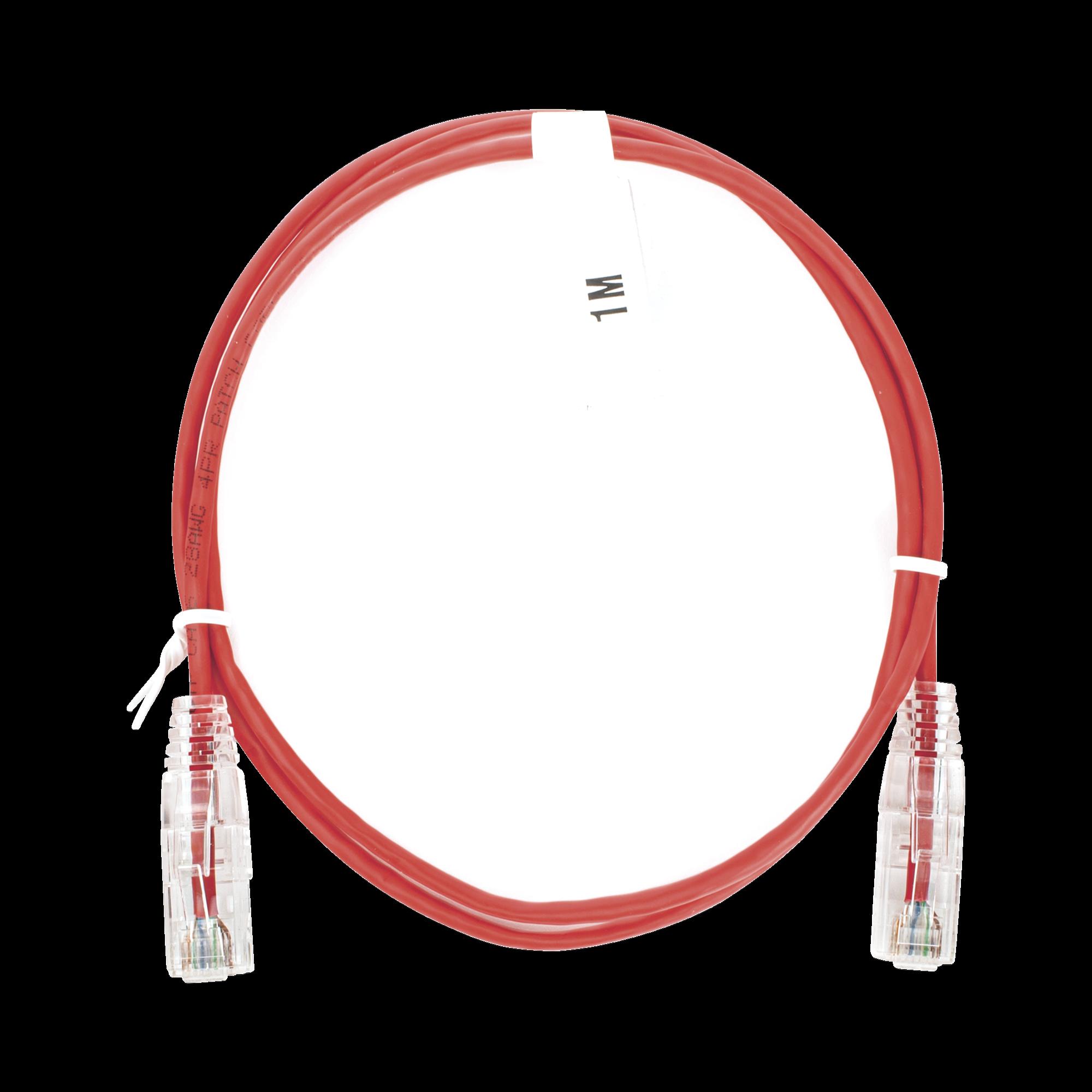 Cable de Parcheo Slim UTP Cat6 - 1 metro, Rojo, Diámetro Reducido (28 AWG)