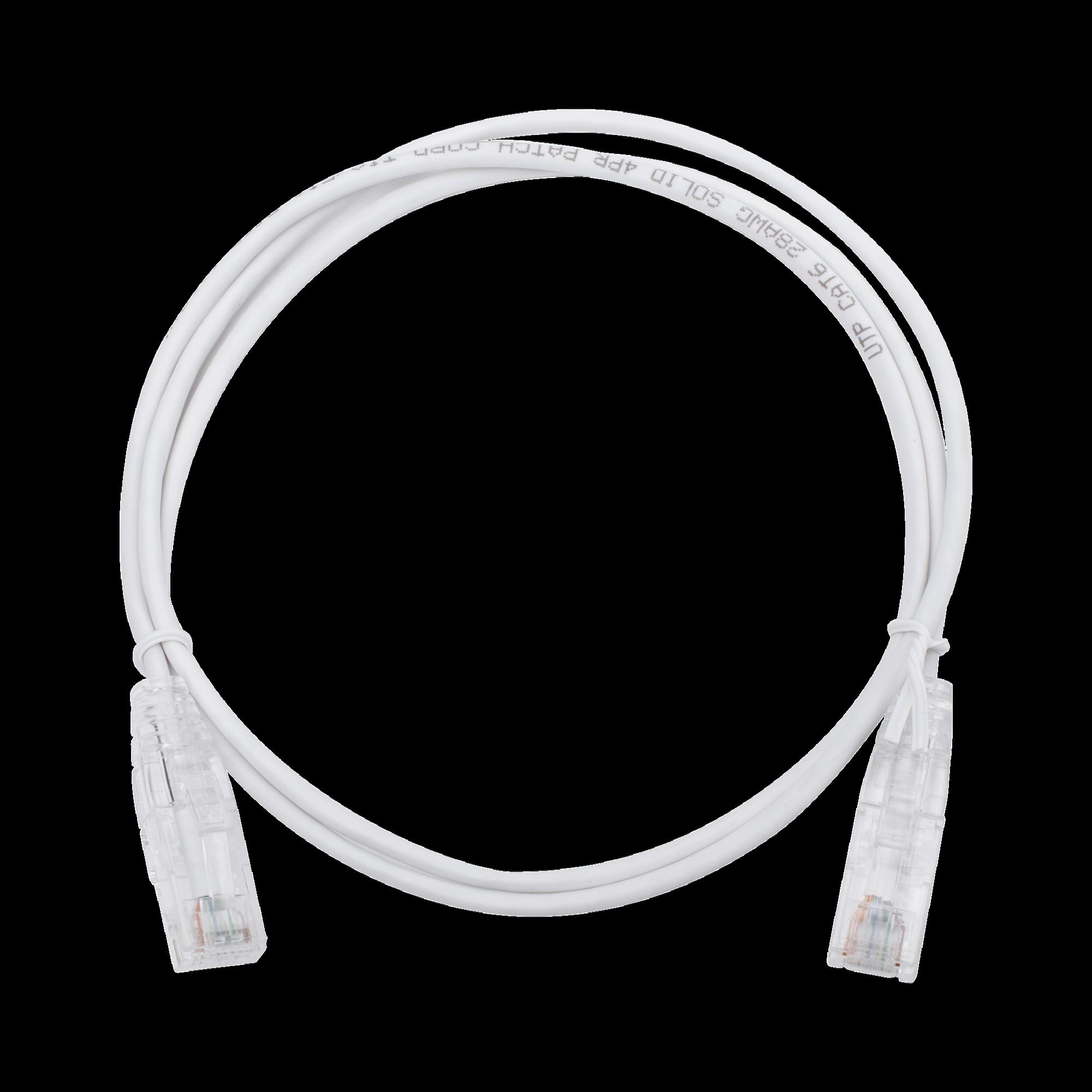 Cable de Parcheo Slim UTP Cat6 - 1 metro, Blanco, Diámetro Reducido (28 AWG)