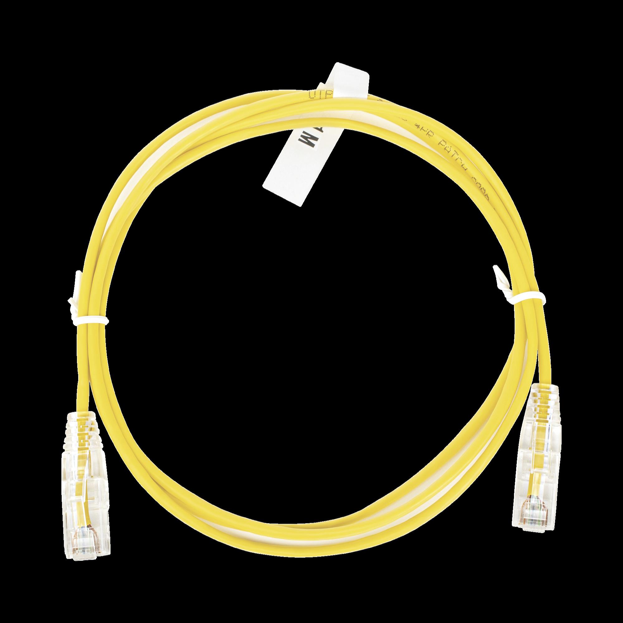 Cable de Parcheo Slim UTP Cat6 - 1 metro, Amarillo, Diámetro Reducido (28 AWG)