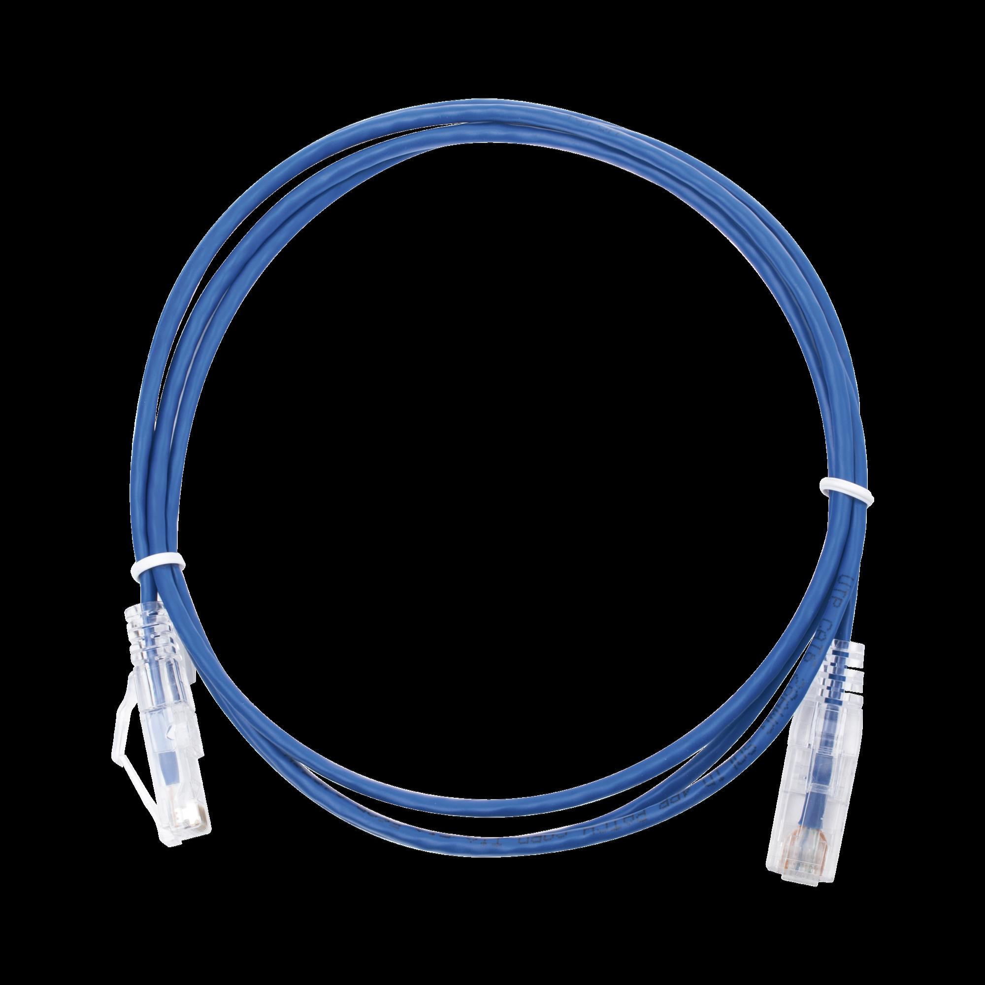 Cable de Parcheo Slim UTP Cat6 - 1.5 m Azul Diámetro Reducido (28 AWG)