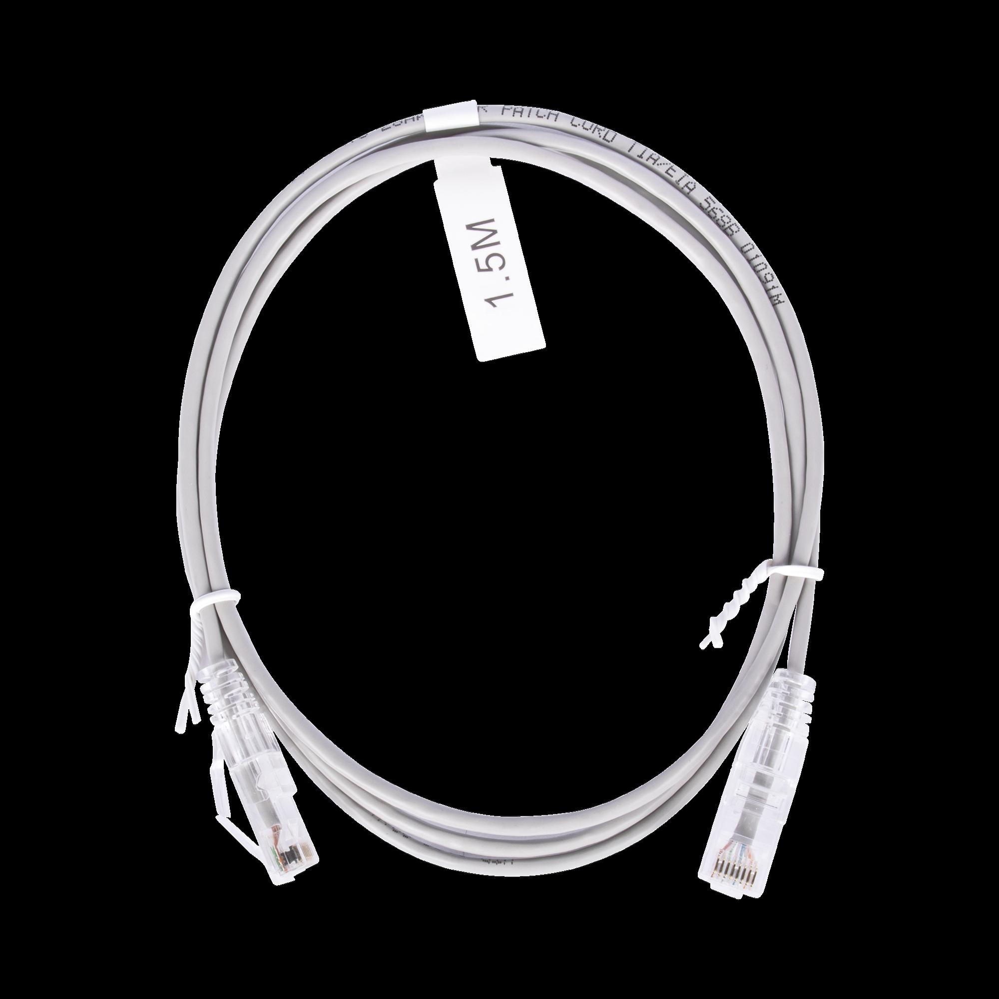 Cable de Parcheo Slim UTP Cat6 - 1.5 m Gris Diámetro Reducido (28 AWG)