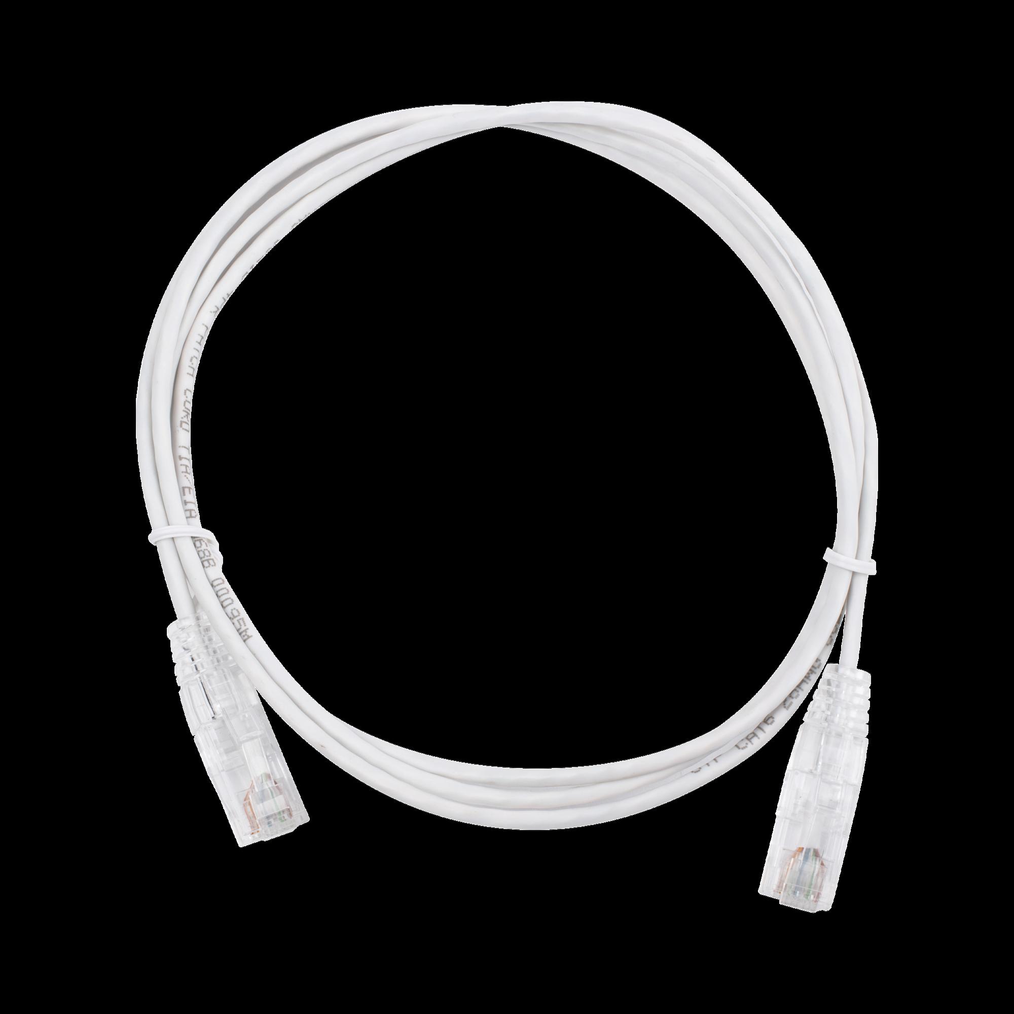 Cable de Parcheo Slim UTP Cat6 - 1.5 m Blanco Diámetro Reducido (28 AWG)