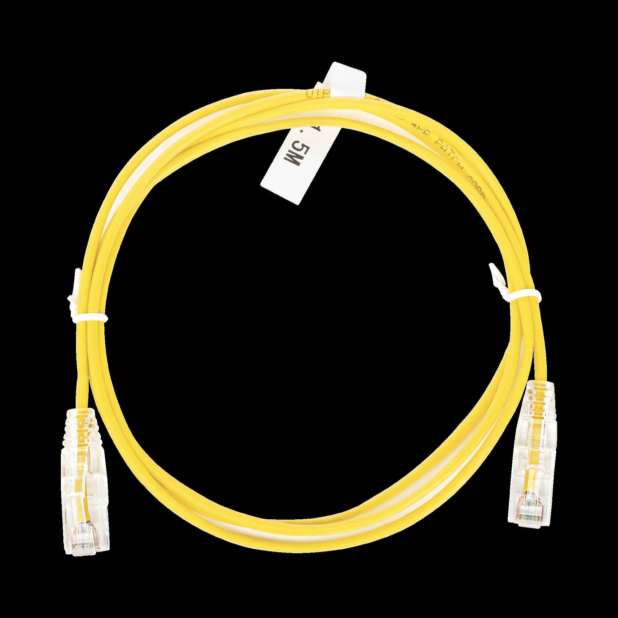 Cable de Parcheo Slim UTP Cat6 - 1.5 m Amarillo Diámetro Reducido (28 AWG)