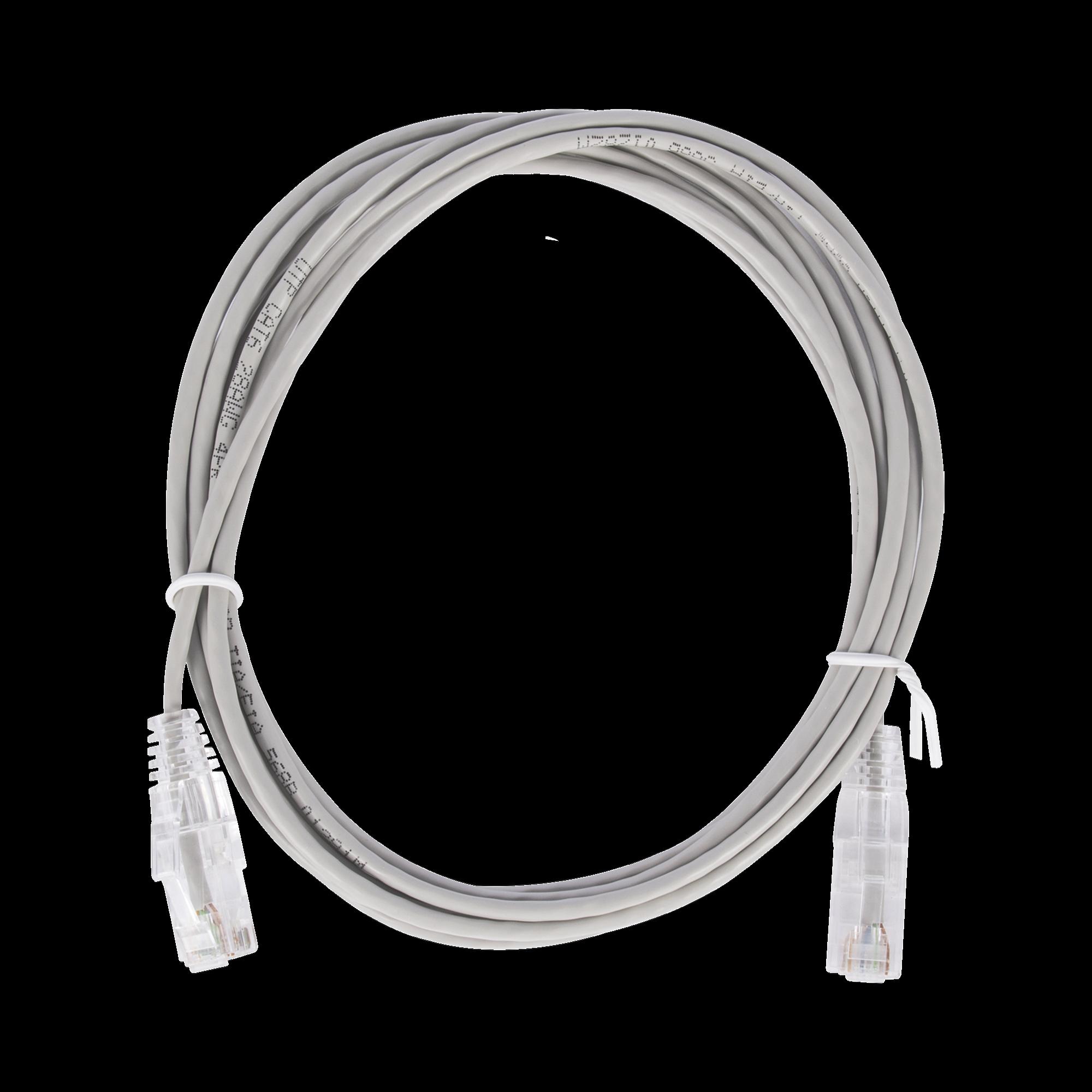 Cable de Parcheo Slim UTP Cat6 - 2 m Gris Diámetro Reducido (28 AWG)