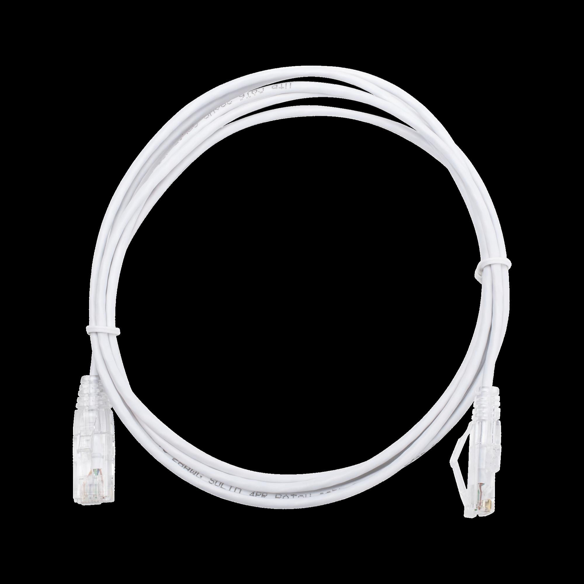 Cable de Parcheo Slim UTP Cat6 - 2 m Blanco Diámetro Reducido (28 AWG)