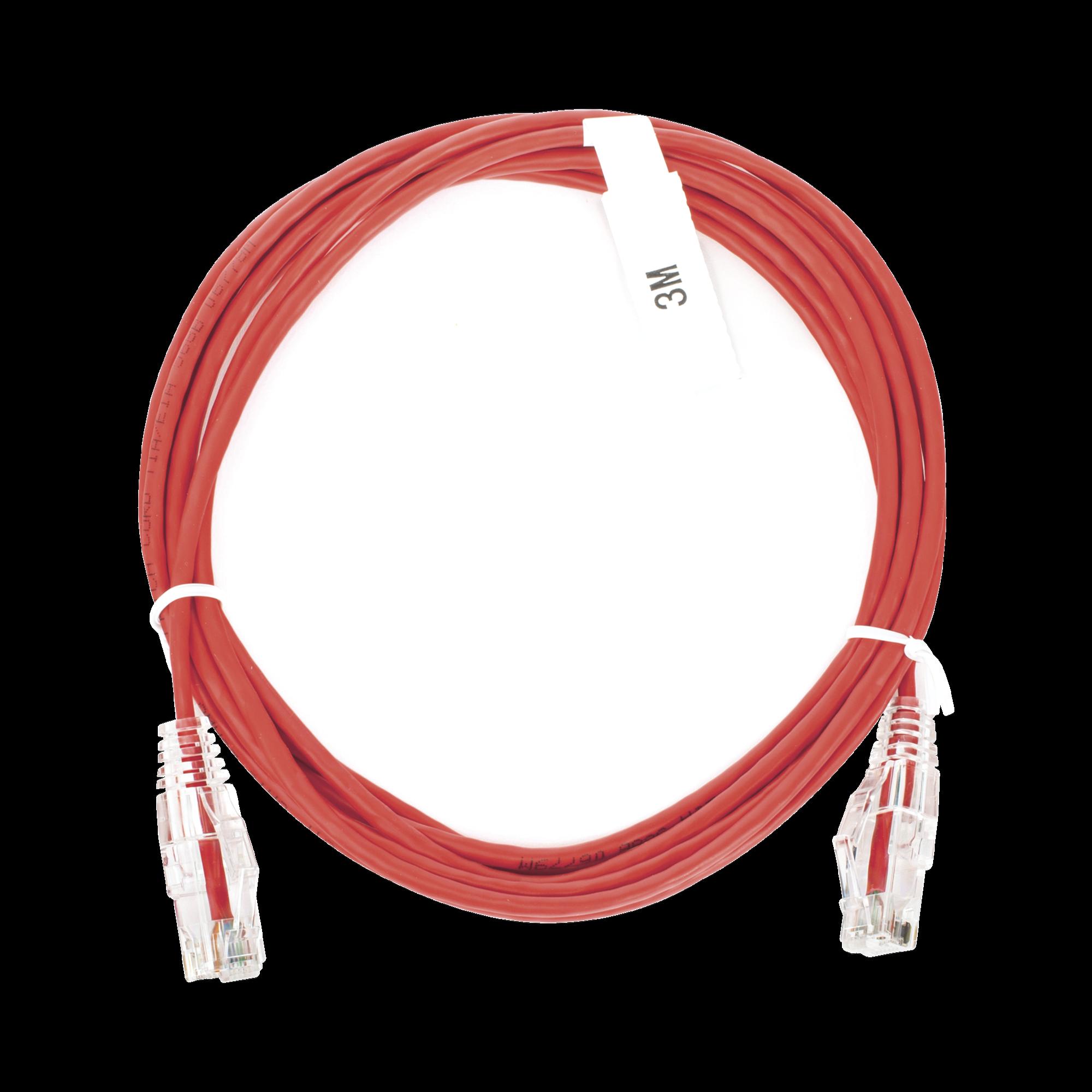 Cable de Parcheo Slim UTP Cat6 - 3 m Rojo Diámetro Reducido (28 AWG)