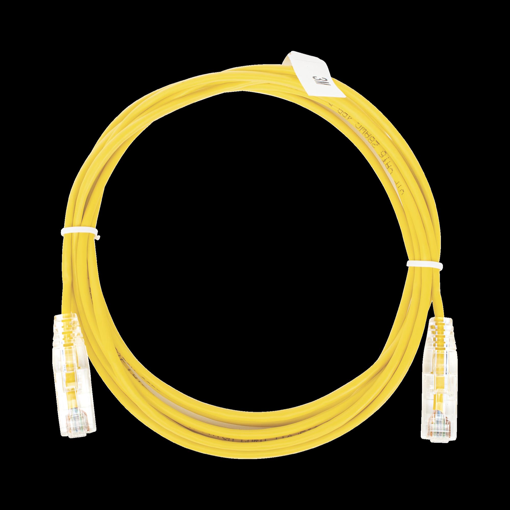 Cable de Parcheo Slim UTP Cat6 - 3 m Amarillo Diámetro Reducido (28 AWG)