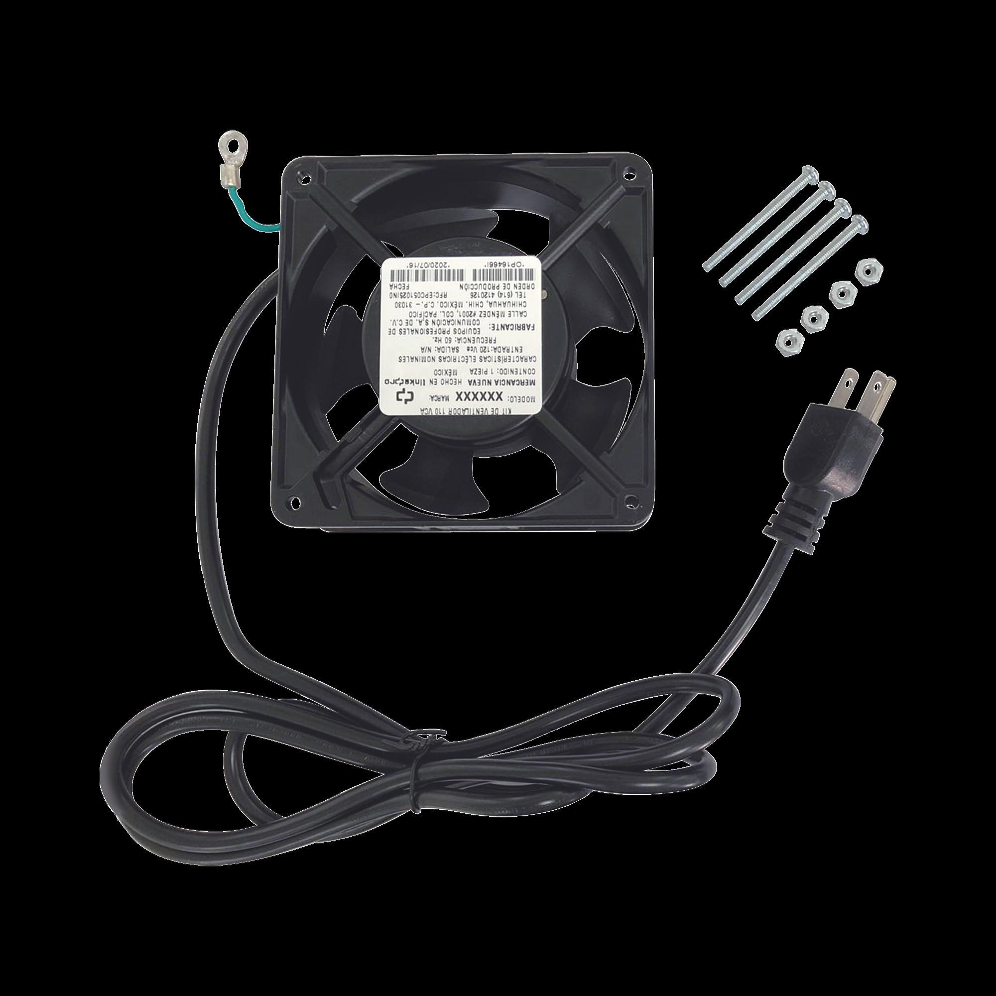 Ventilador 110 Vca de 12 x 12 cm con Cable y Clavija.