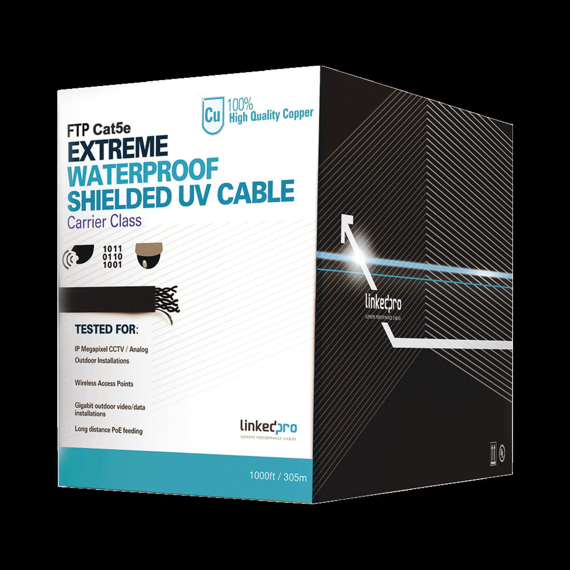 Bobina de cable de 305 m, Cat5e, color negro, sin blindar,  para aplicaciones de CCTV, redes de datos. Uso en intemperie