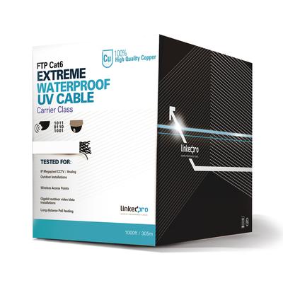 Bobina de cable UTP 305 Metros Cat6, Calibre 23, CLIMAS EXTREMOS, Color blanco, sin blindar, para intemperie