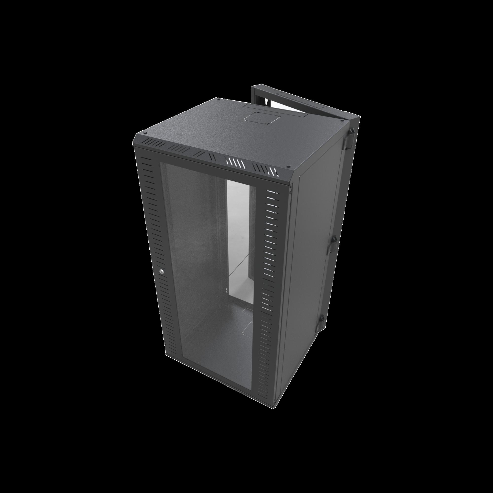 Gabinete Abatible para Montaje en Pared con Rack 19 de 24 Unidades Ventana de Cristal