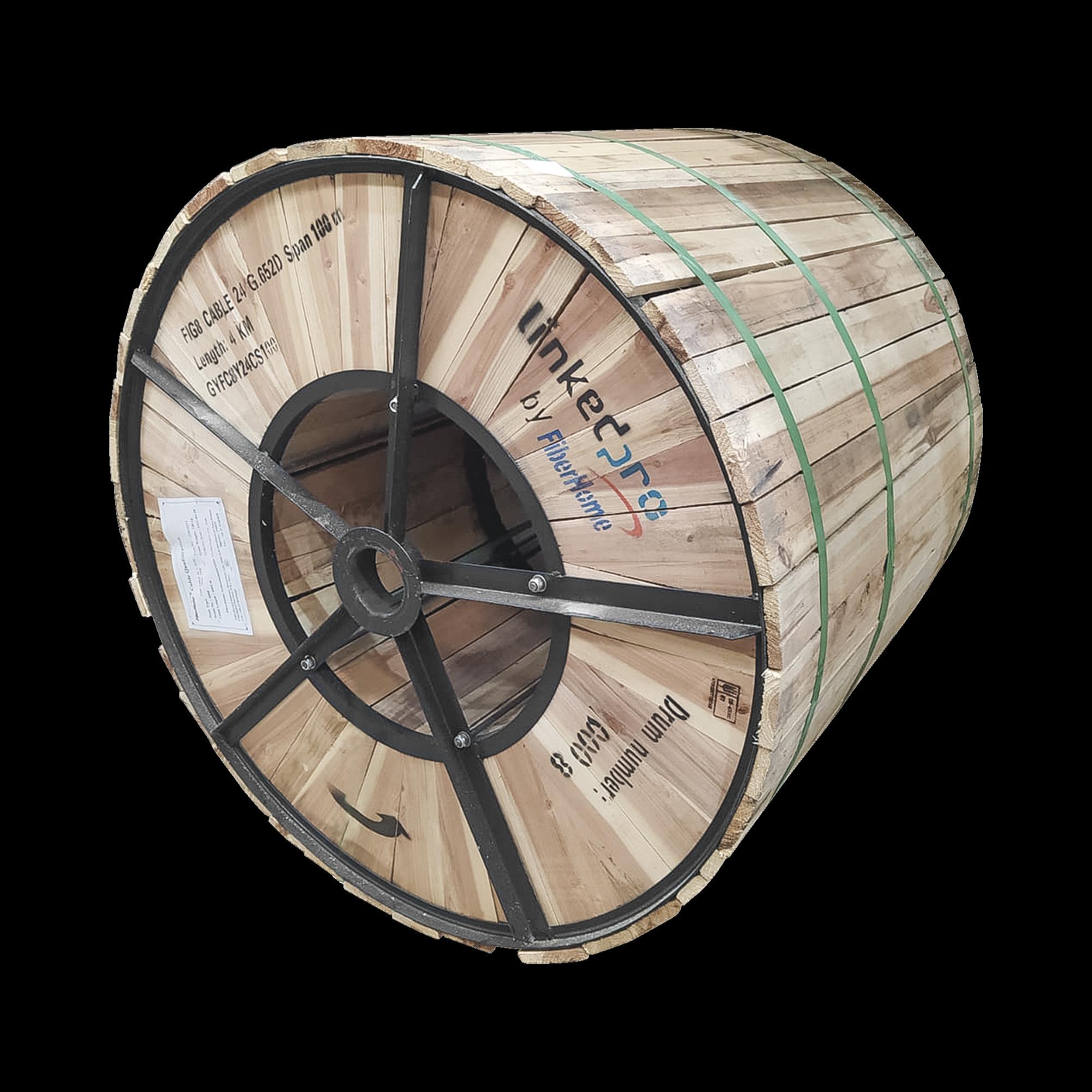 Carrete de 4 km de Fibra óptica Aérea Figura 8 G.652D, Monomodo de 24 Hilos, Exterior, Span 100, Loose Tube