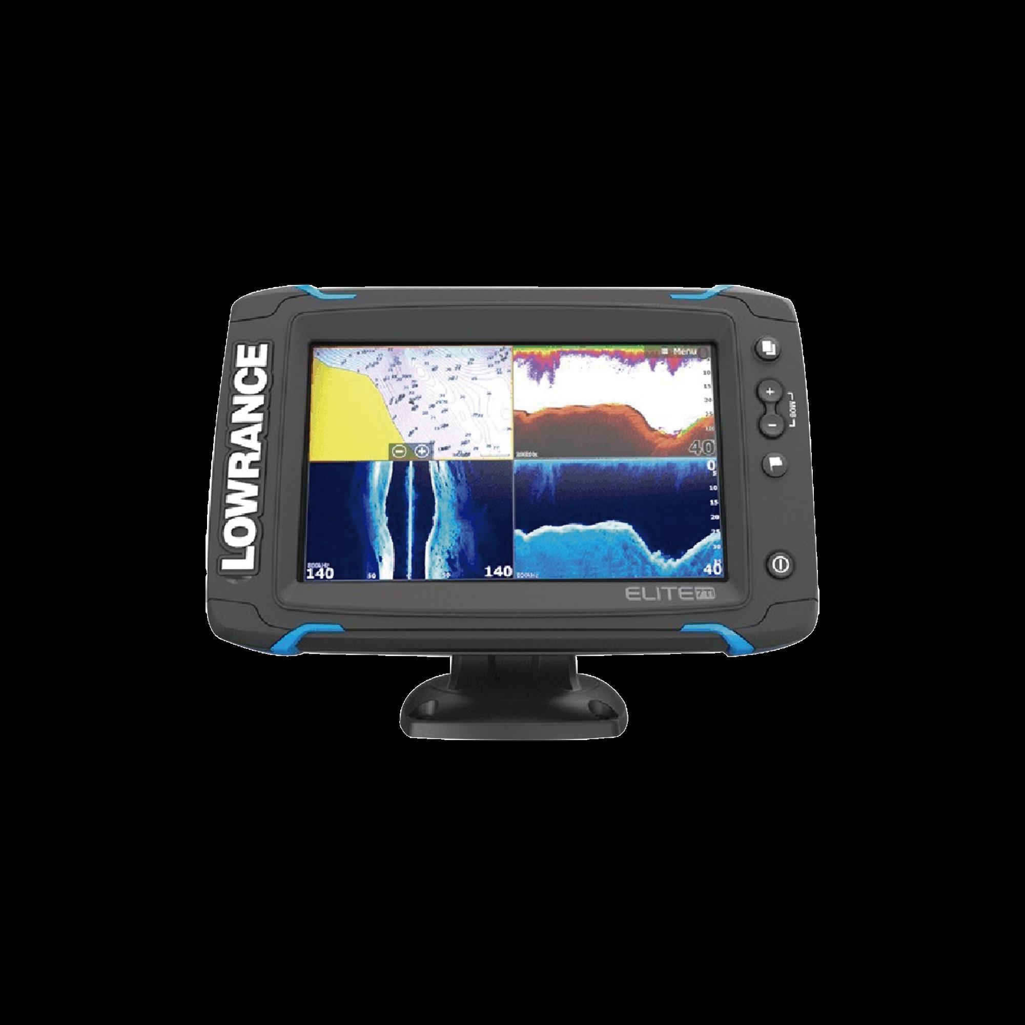 Elite-7 Ti Fishfinder / Chartplotter de 7 pulgadas con pantalla LED retroiluminada de alto brillo con tecnología CHIRP, DownScan ? y StructureScan ?, incorporada. Incluye transducer total scan