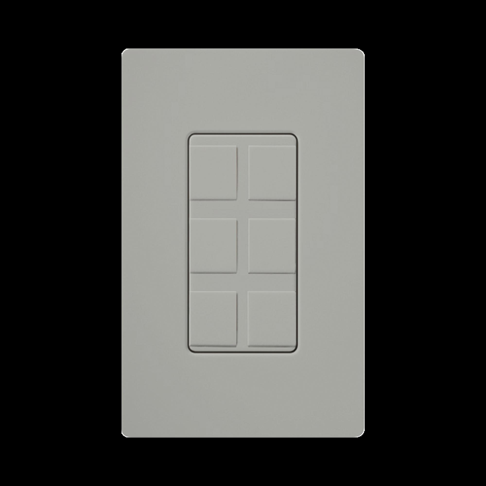 Placa de 6 puertos color gris