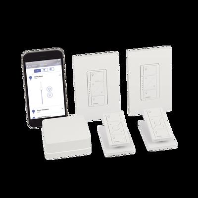 Control de iluminación, Kit hub controlador, dimmer, control remoto, base mesa y tapa