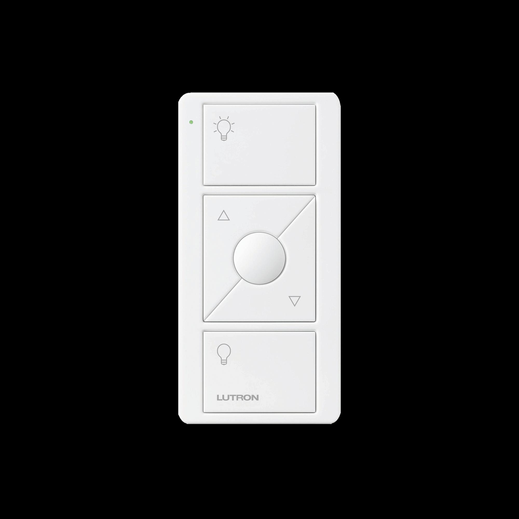 Control remoto PICO 3 botones encender/apagar, subir/bajar intensidad, color blanco, complemente con un atenuador Caseta, RA2, RadioRa2.