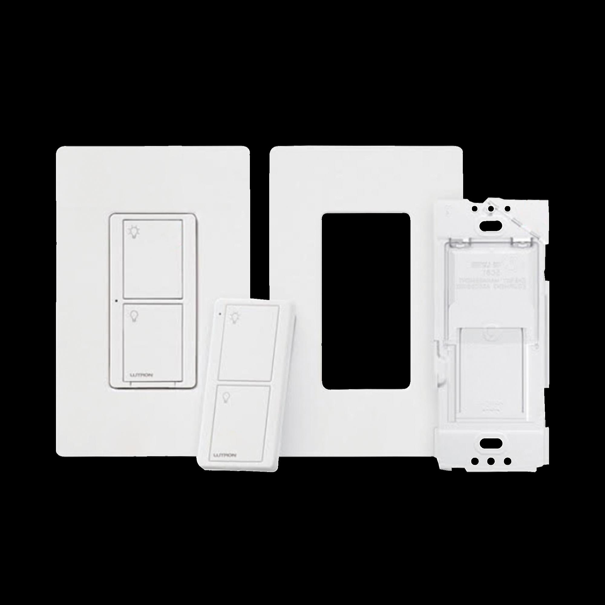 Kit, Apagador, base para empotrar en pared el control remoto PICO, tapa, ideal para el control de iluminación, integrable al HUB de Caseta y su App