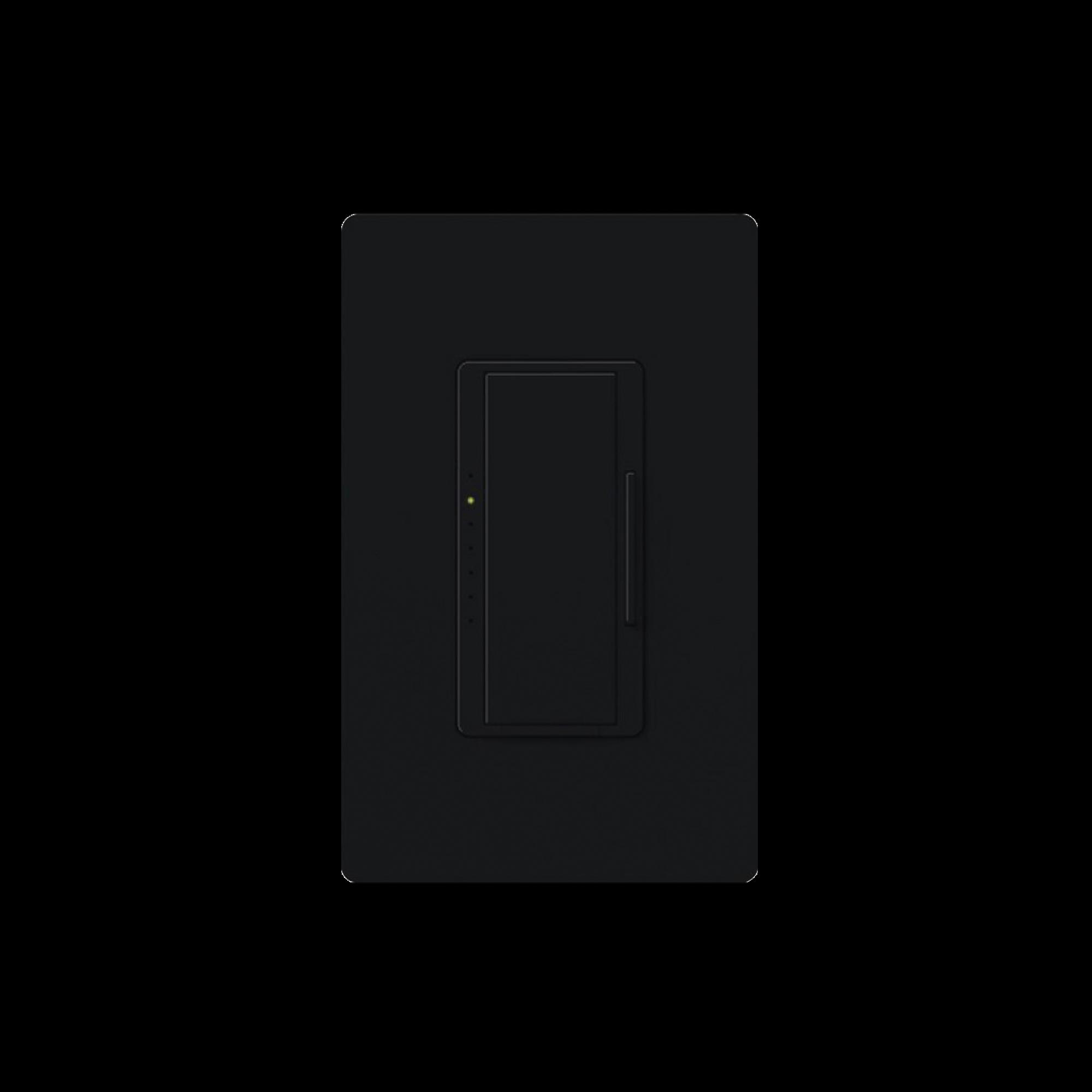 Atenuador (dimmer) un solo polo/multilocación 120VCA/600W (INC/MLV/HAL) o 150W (CFL/LED), apaga, enciende y atenúa iluminación. No requiere cable neutro, color negro.