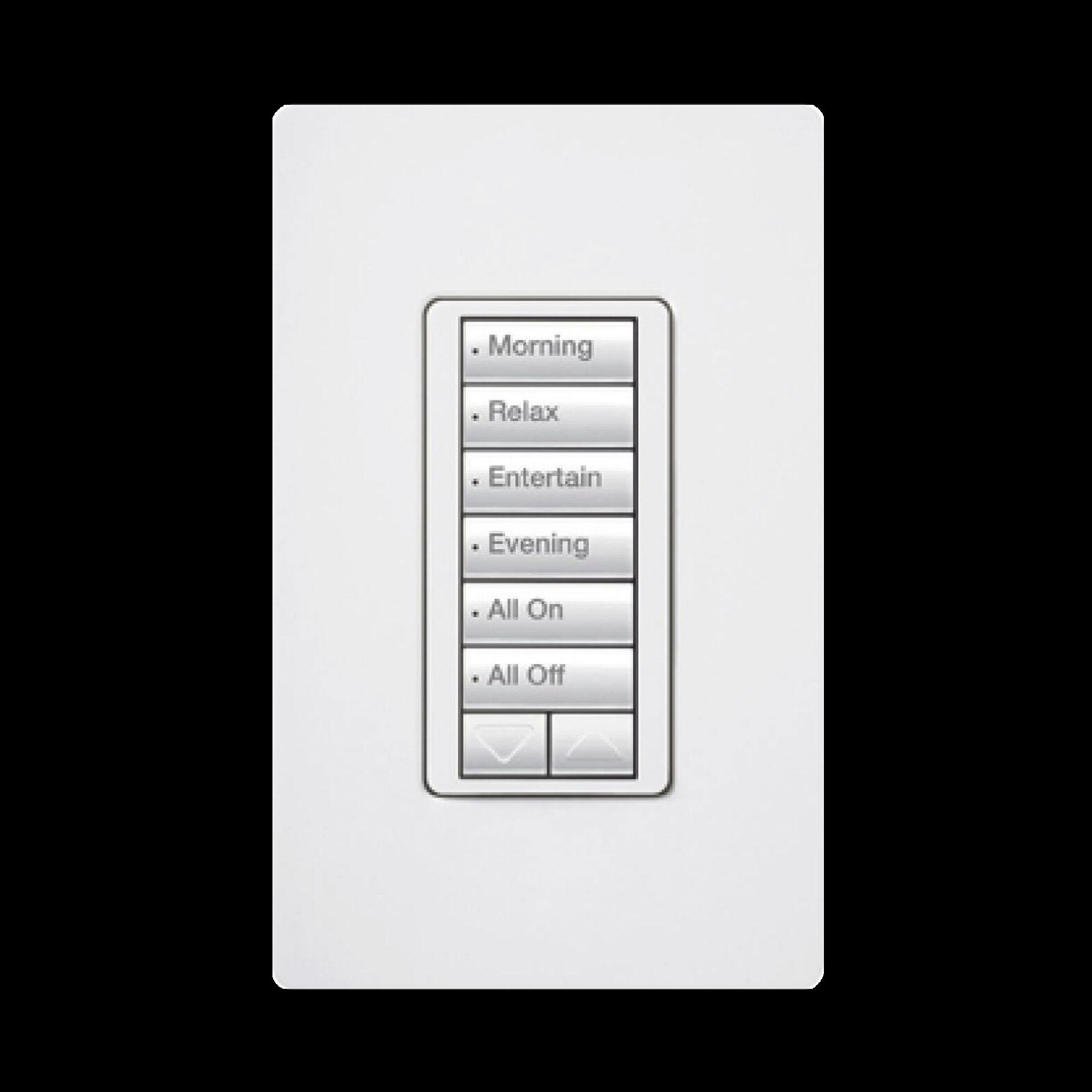 Teclado Seetouch Hibrido 6 botones, 2 botones subir/bajar, programe escenas diferentes en cada botón,puede instalarse en un interruptor de luz.