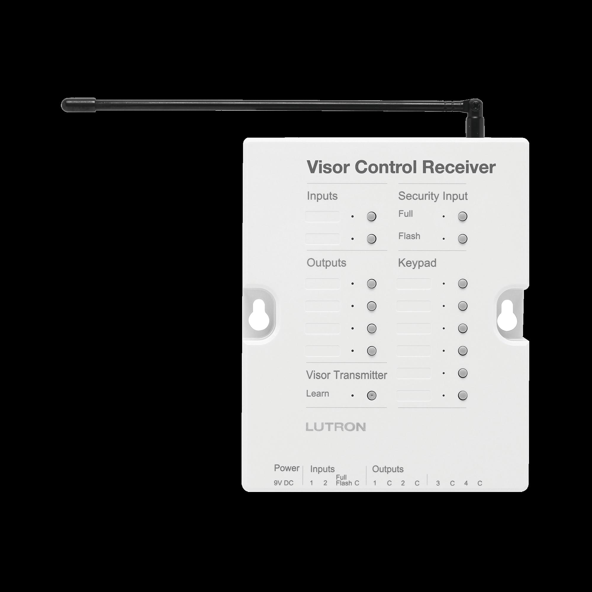 Receptor de control para puertas de garage, regulador de iluminación. 120V, 4 salidas de relay y 2 entradas. Complementar con RRMAIN de RadioRa2 Lutron.