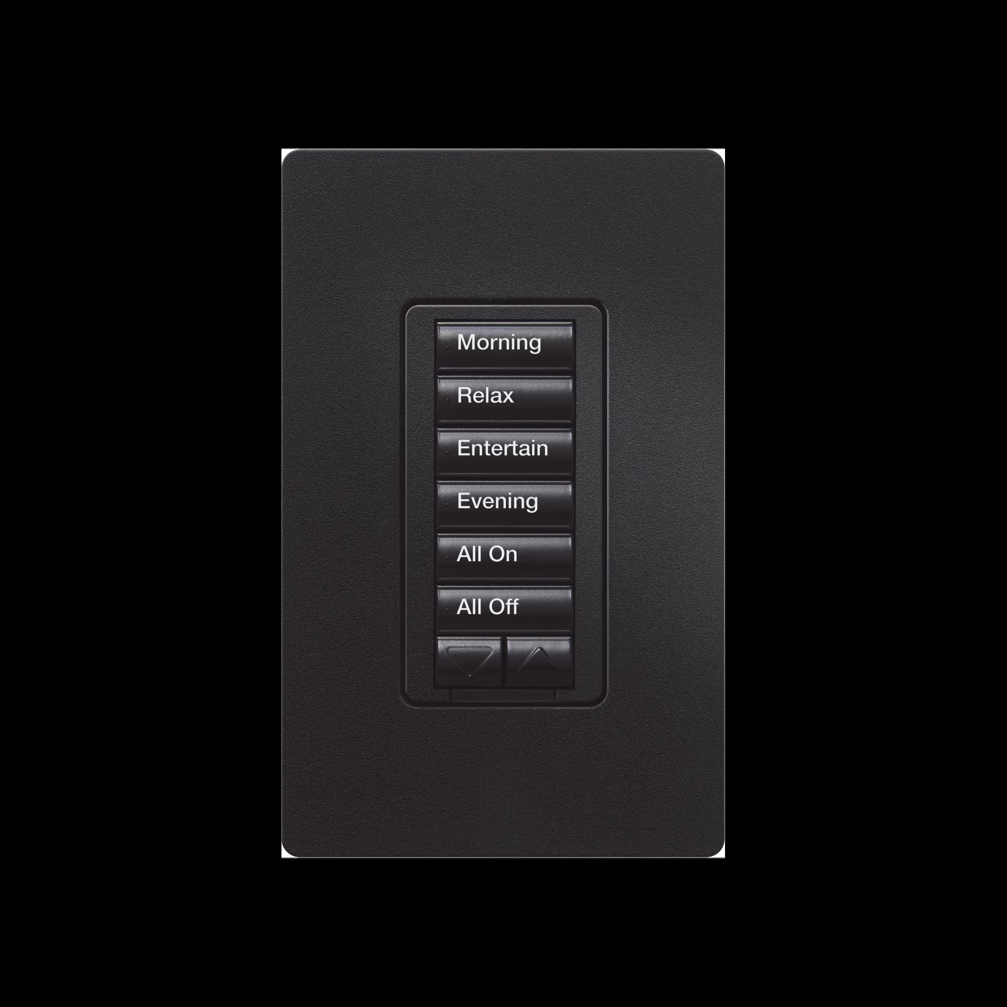 Teclado seetouch 6 botones, 2 botones subir/bajar, programe escenas diferentes en cada botón, color negro.